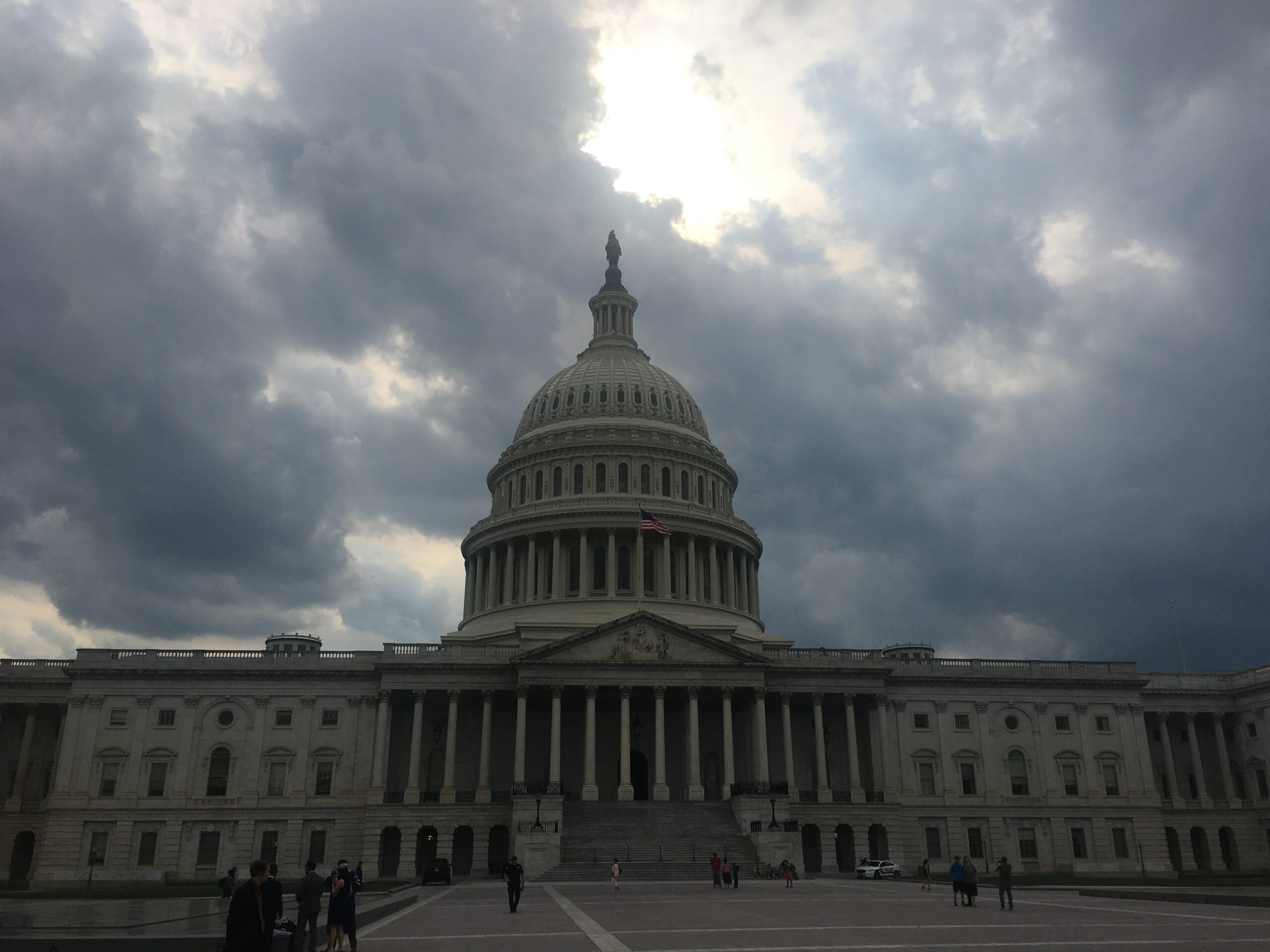 Dark clouds over the U.S. Capitol building