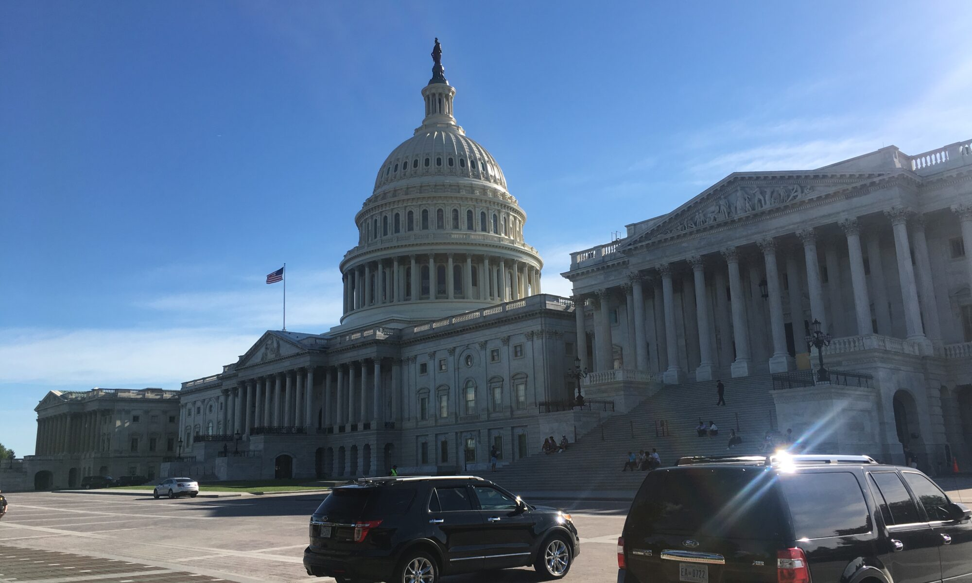 The U.S. Capitol Building under blue skies