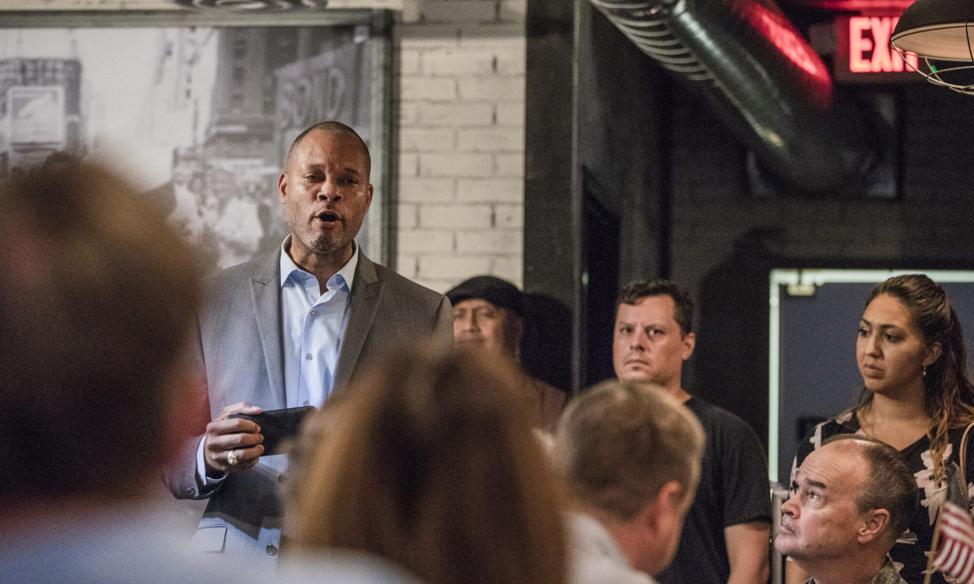 Aaron Ford at campaign event