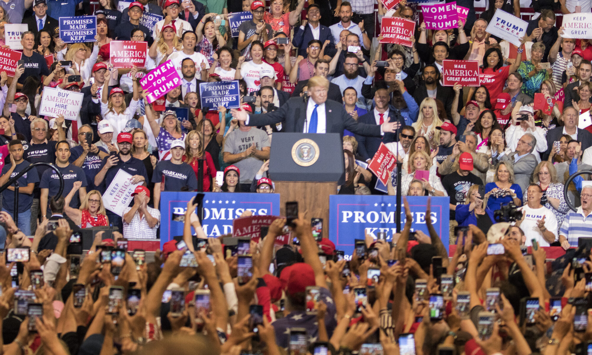 President Donald Trump speaks at a campaign rally.