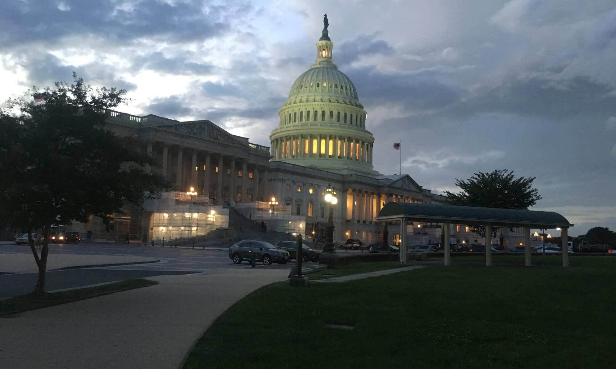 The US Capitol Building dome at dusk