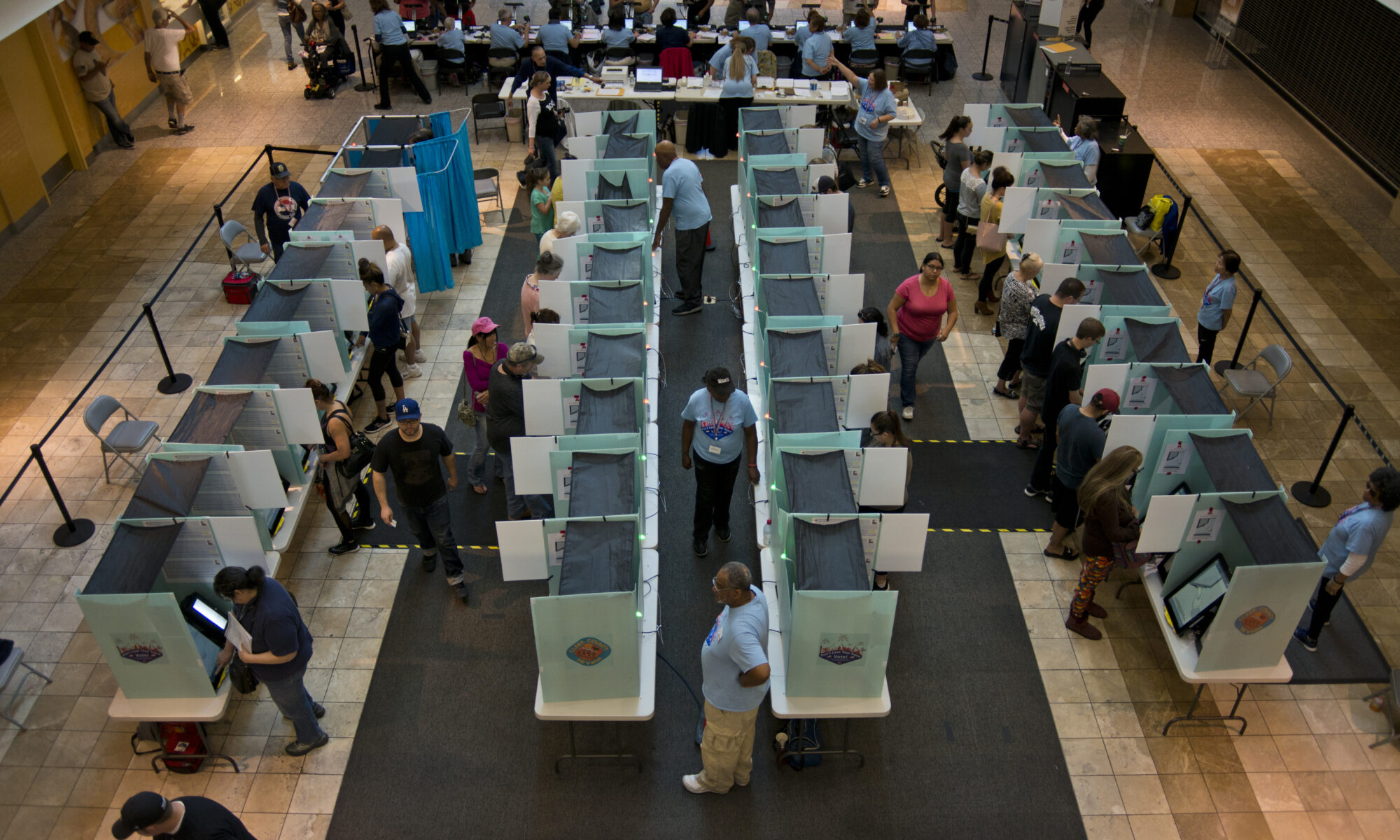 Overhead view looking down on voting stations