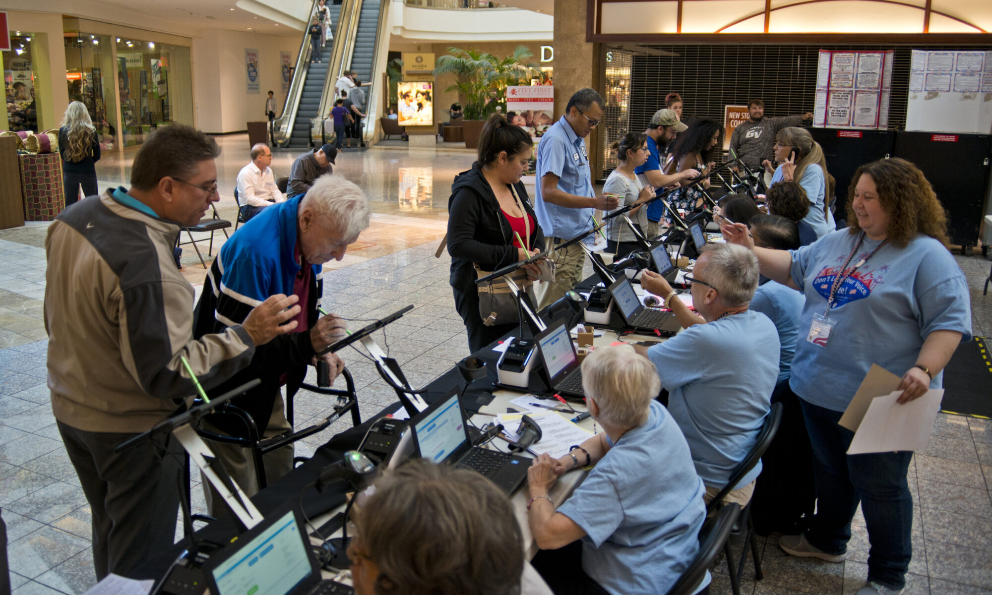 Voters at Galleria at Sunset voting center