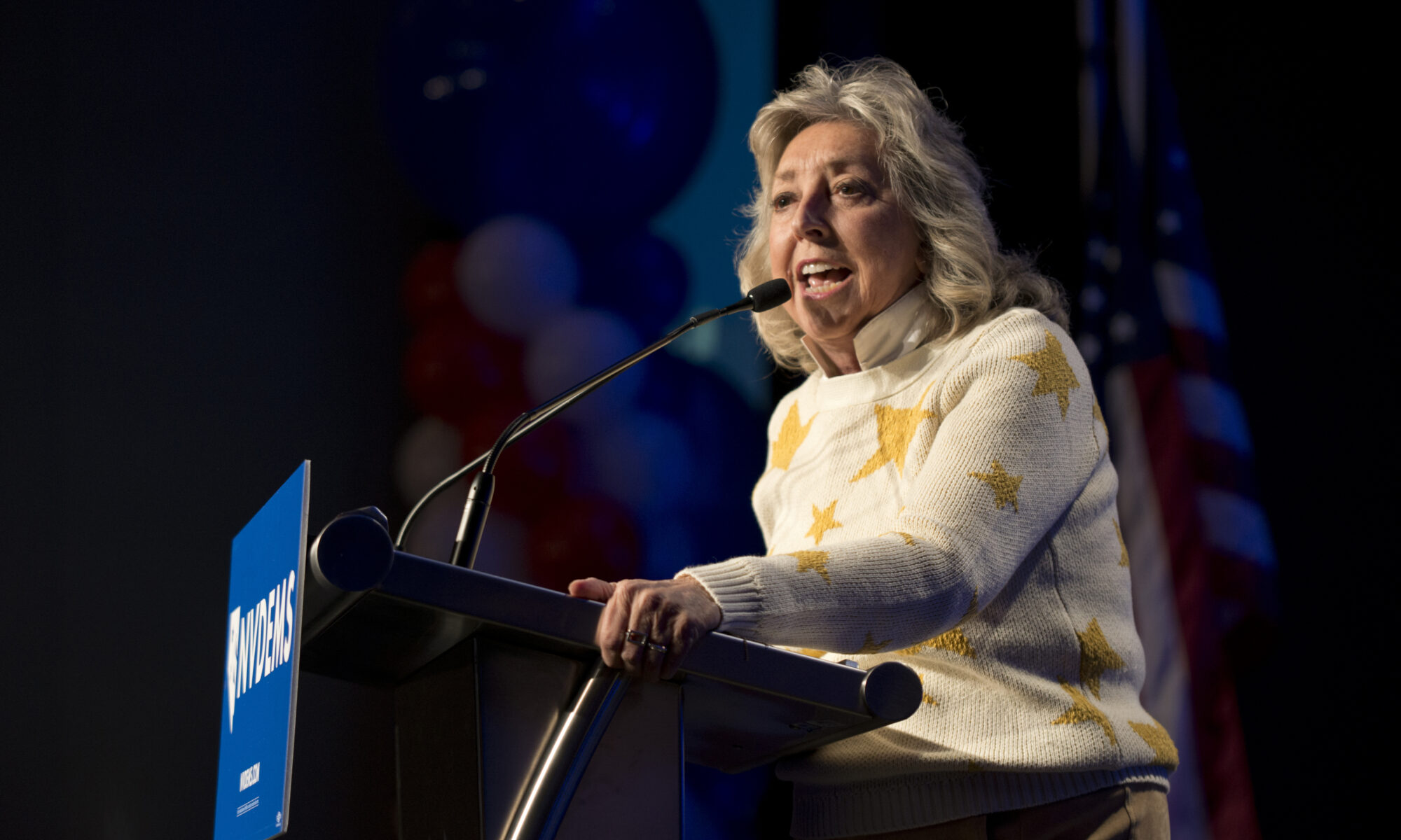 Dina Titus speaks during the Nevada Democratic Party election night event at Caesar Palace in Las Vegas on Tuesday, Nov. 6, 2018.