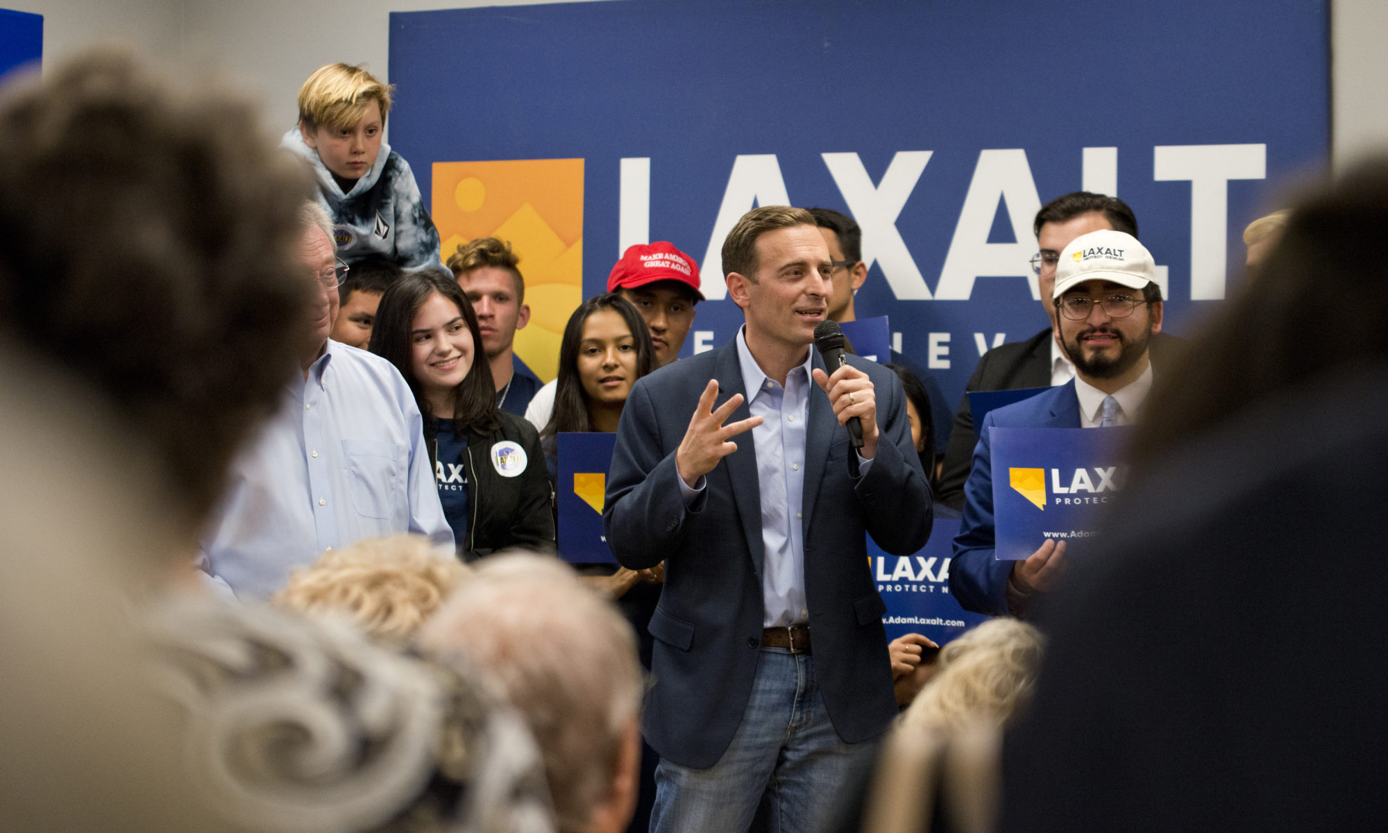 Republican candidate for governor Attorney General Adam Laxalt speaks during a get out the vote event at the Laxalt field office in Las Vegas