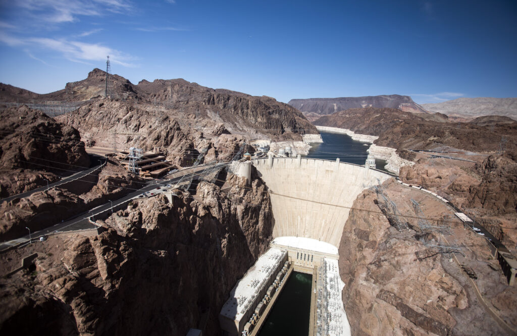 A view of Hoover Dam in the daytime