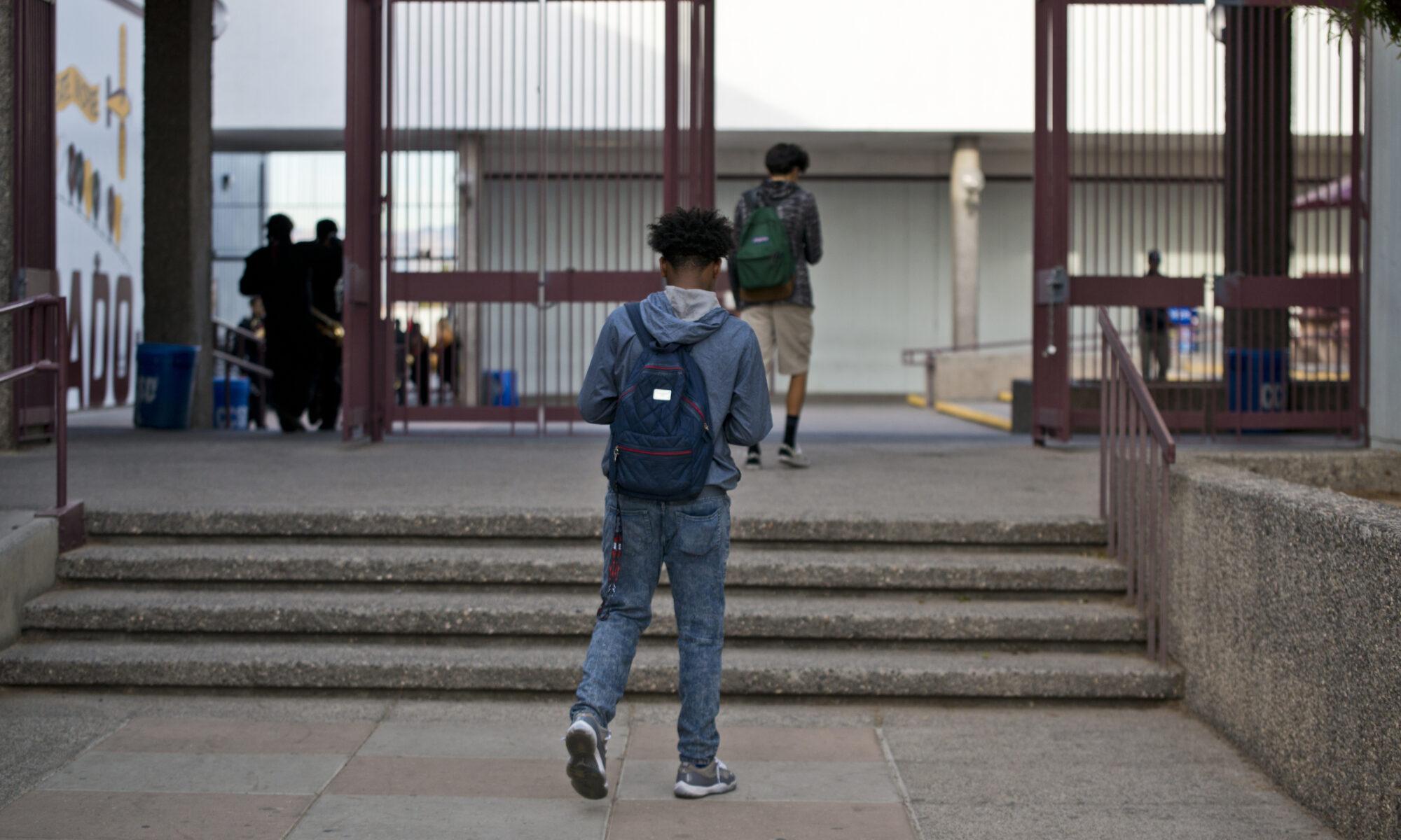 Students walk between classes at Eldorado High School