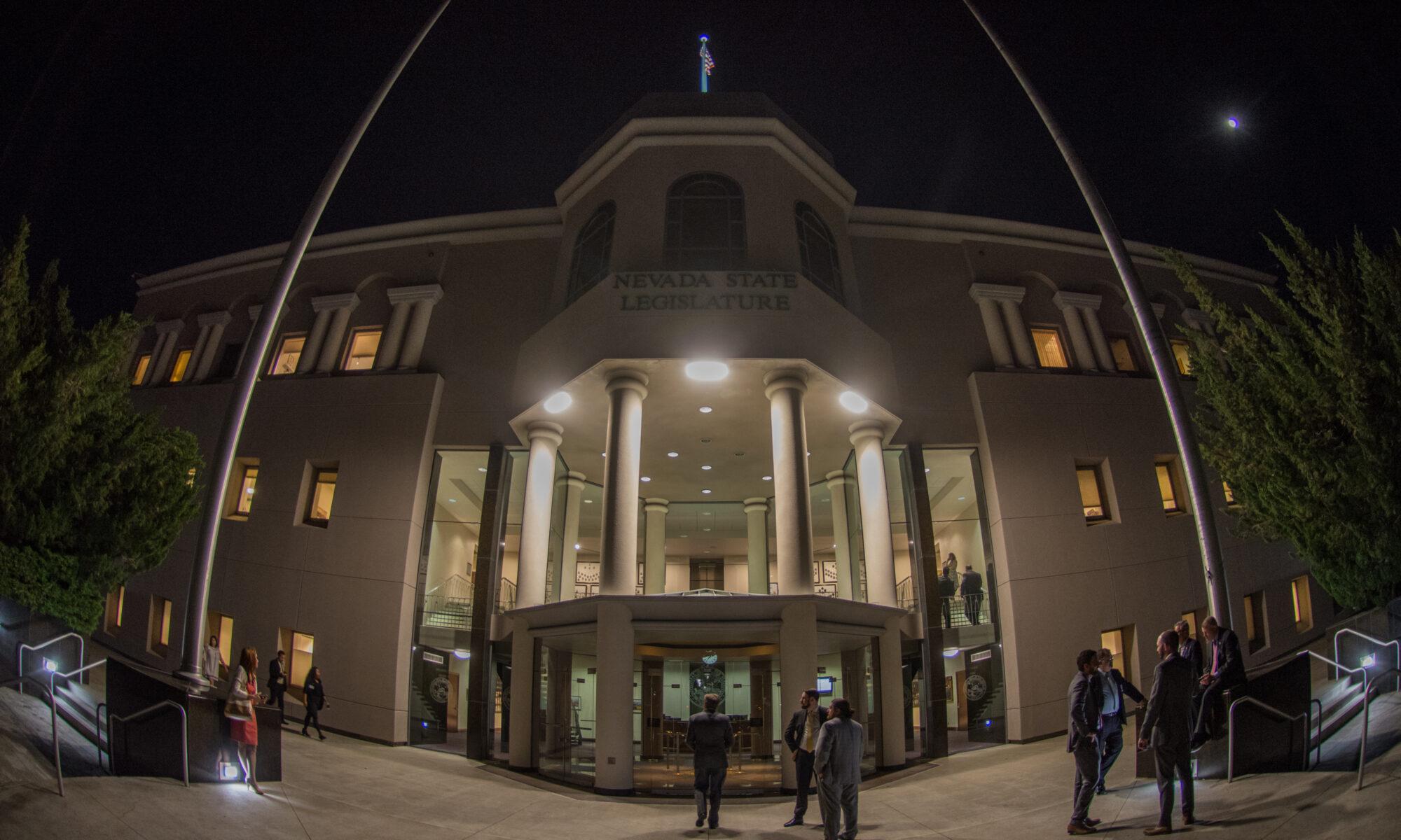 Front of the Nevada Legislature building at night