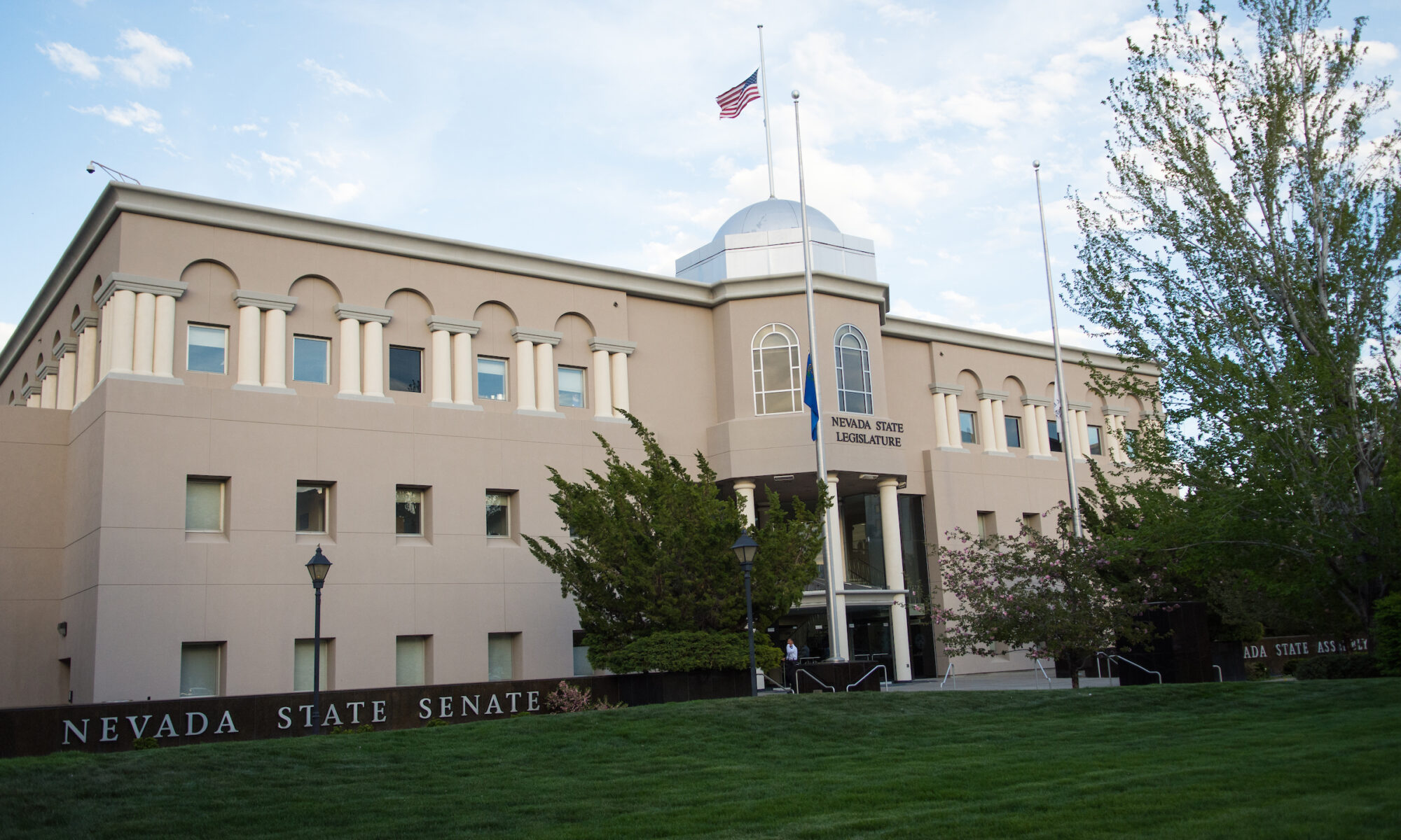 Photo of the front of the Nevada Legislature building.