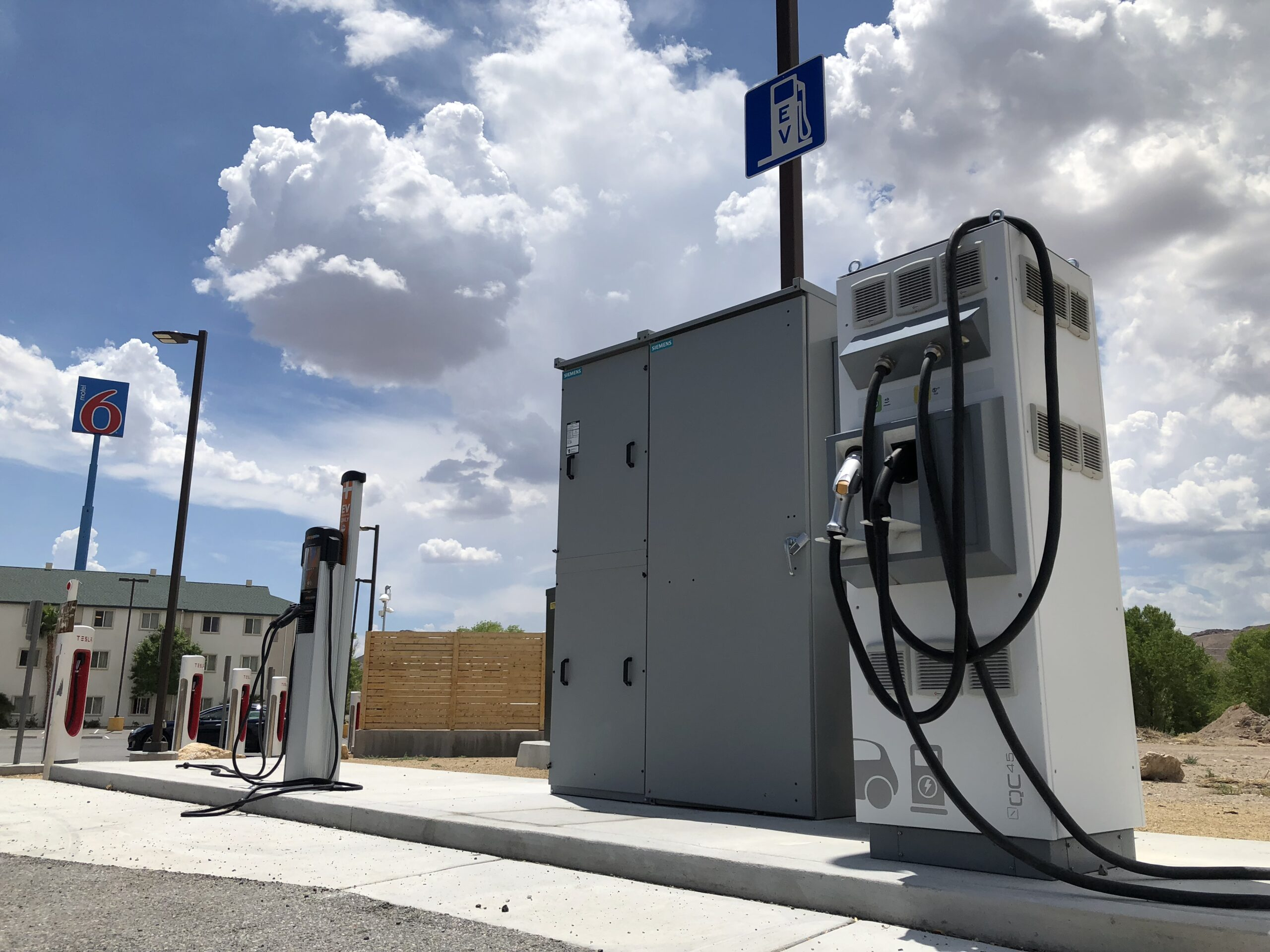 A photo of an electric charging station