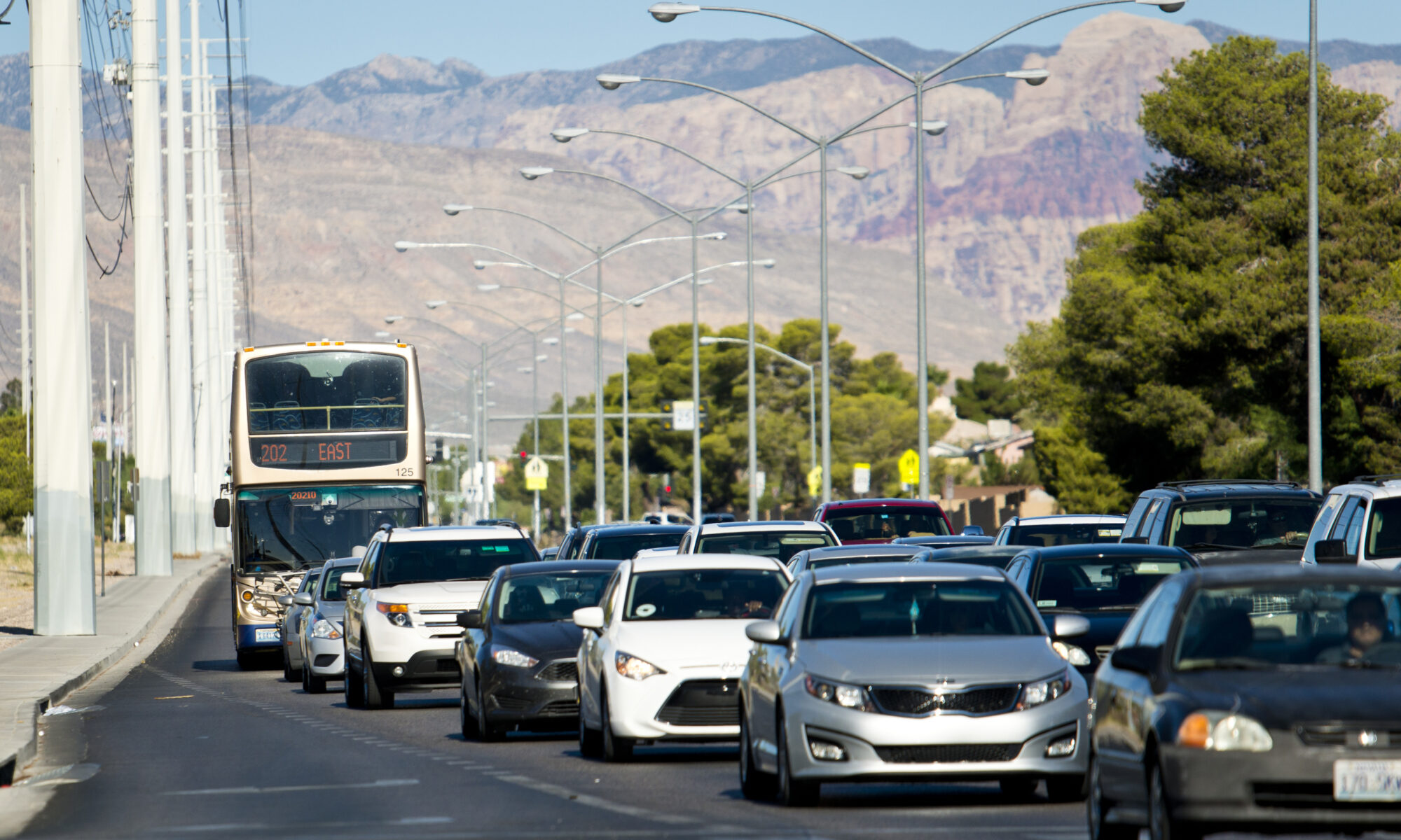 An RTC bus approaches a bust stop in Las Vegas
