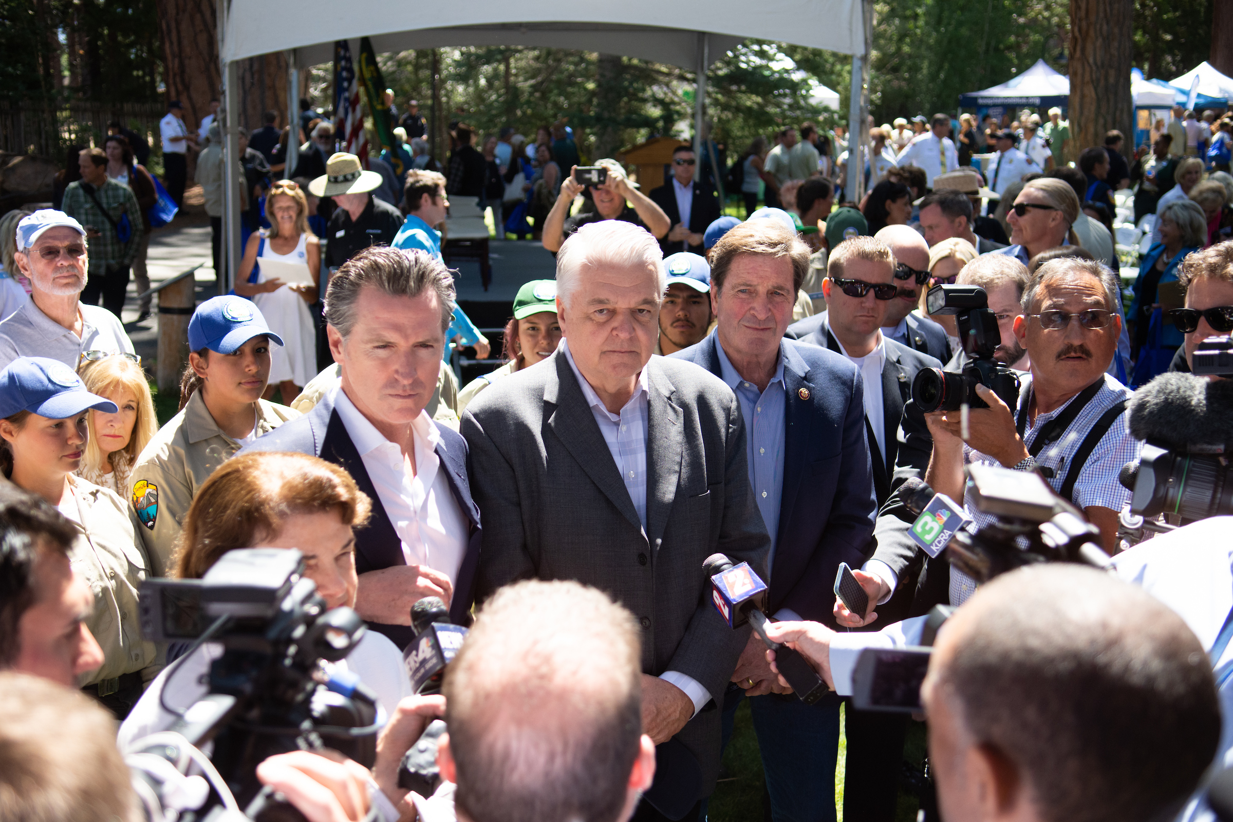 Gov. Gavin Newsom (D-Calif.), Gov. Steve Sisolak (D-Nev.) and Congressman John Garamendi (D-Calif.) answer questions after the Tahoe Summit