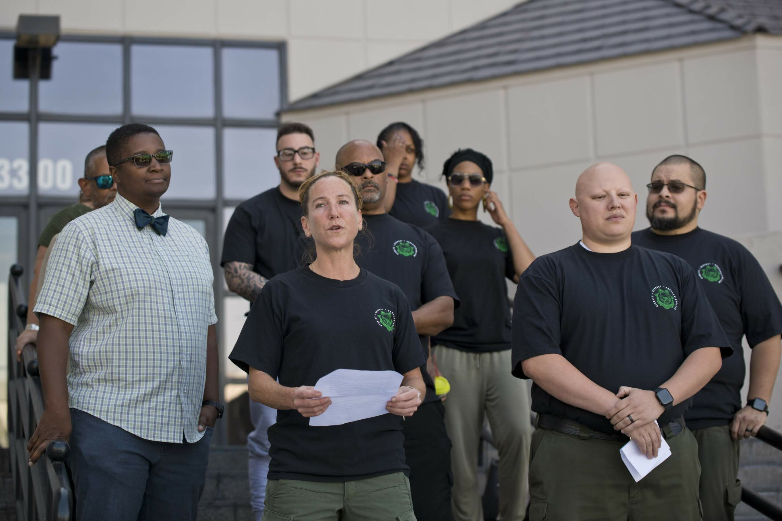 Shari Kassebaum, a correctional sergeant employed by the state, makes a statement before filing for recognition as AFSCME with the Government Employee Management Relations Board in Las Vegas