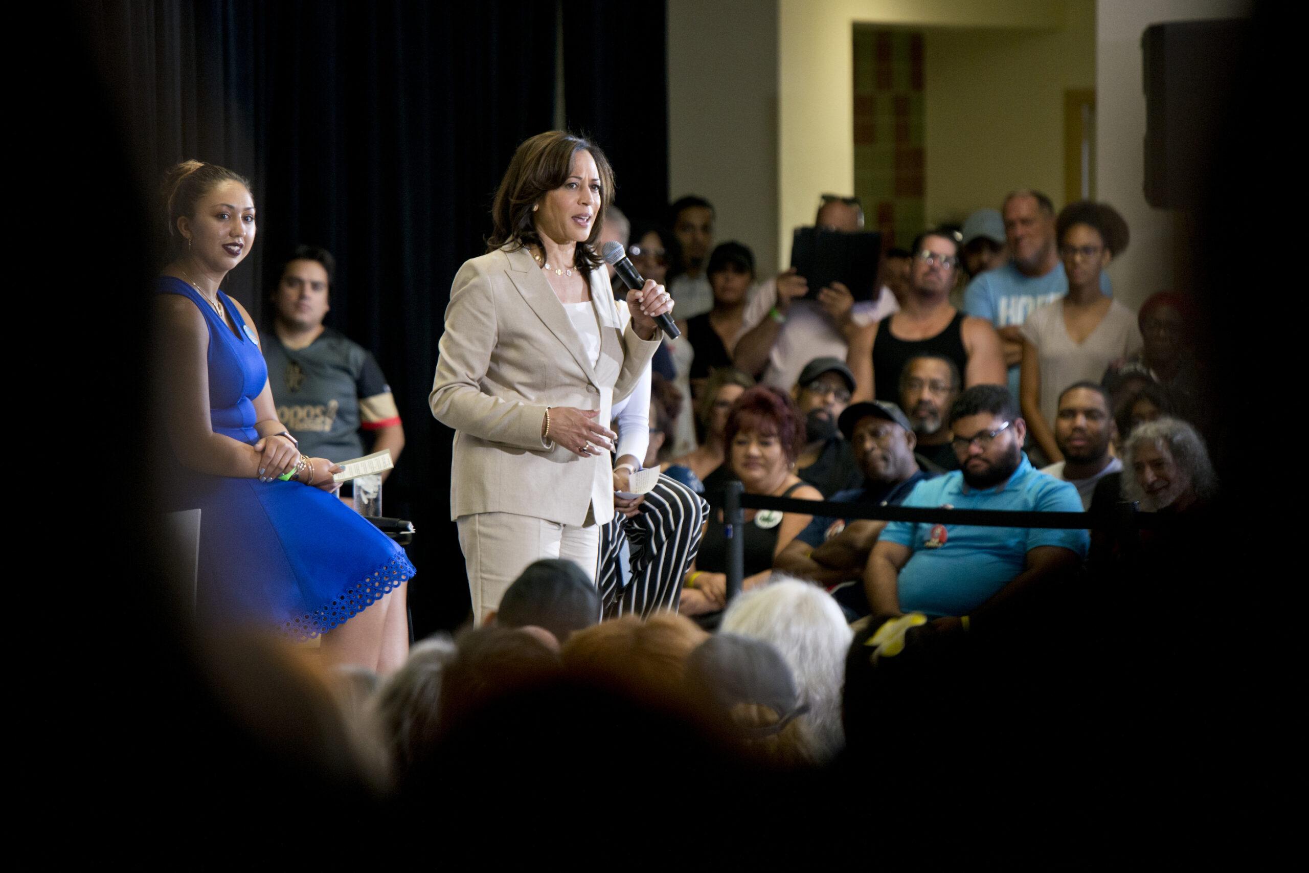 Sen. Kamala Harris speaks during a campaign event
