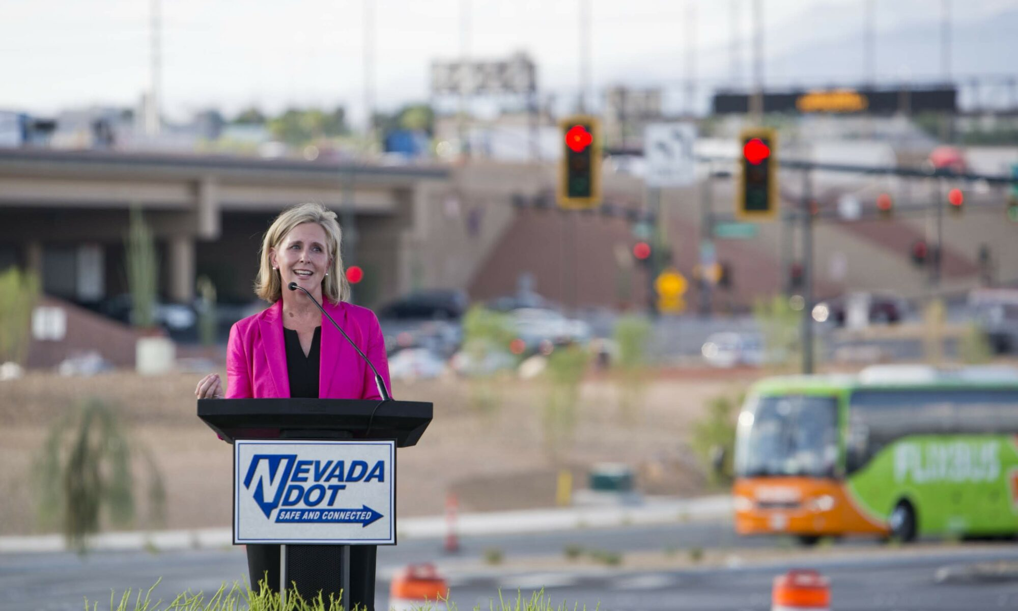 NDOT Director Kristina Swallow speaks during the Project Neon Grand Finale event in downtown Las Vegas on Thursday, Aug. 8, 2019.