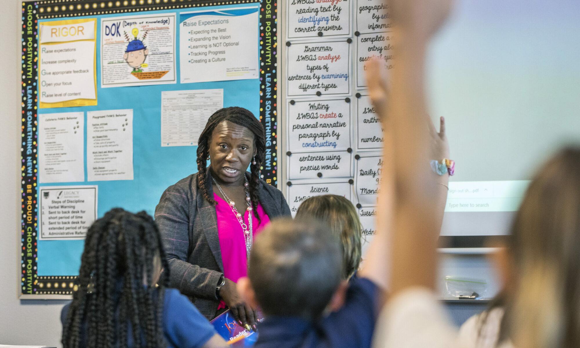 Tiffany Thompson, a sixth-grade teacher at Legacy Traditional School Southwest Las Vegas, teaches her class