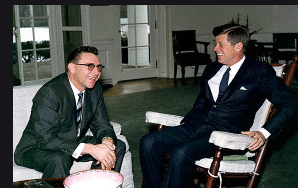 Nevada governor Grant Sawyer sitting with President John F. Kennedy