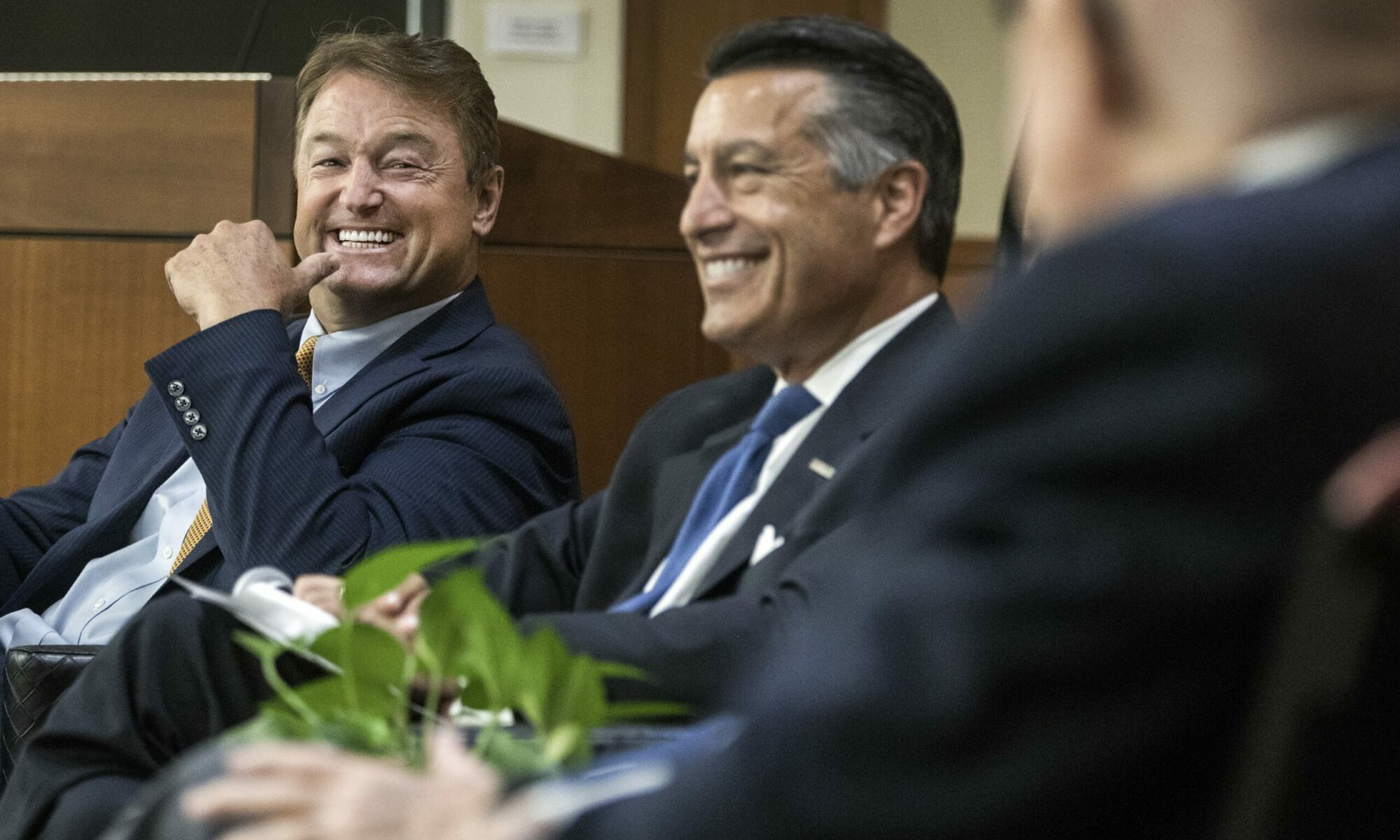 Former Nevada Sen. Dean Heller, left, and former Gov. Brian Sandoval during the launch of the new Law and Leadership Program at the UNLV