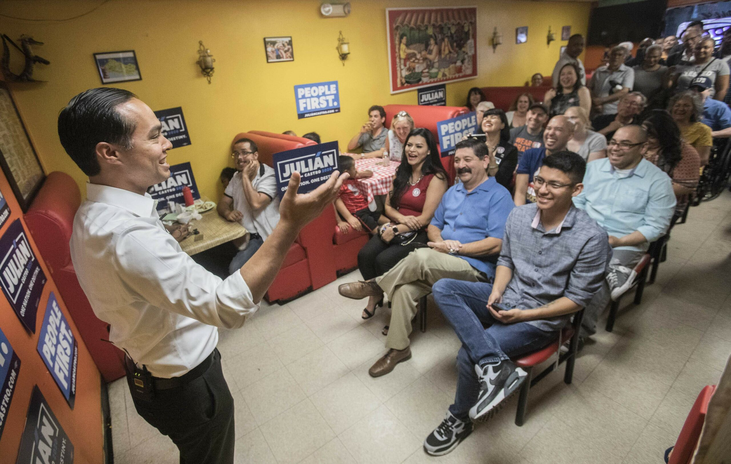 Presidential candidate Julian Castro, former secretary of Housing and Urban Development and mayor of San Antonio, Texas, speaks at San Salvador Restaurant