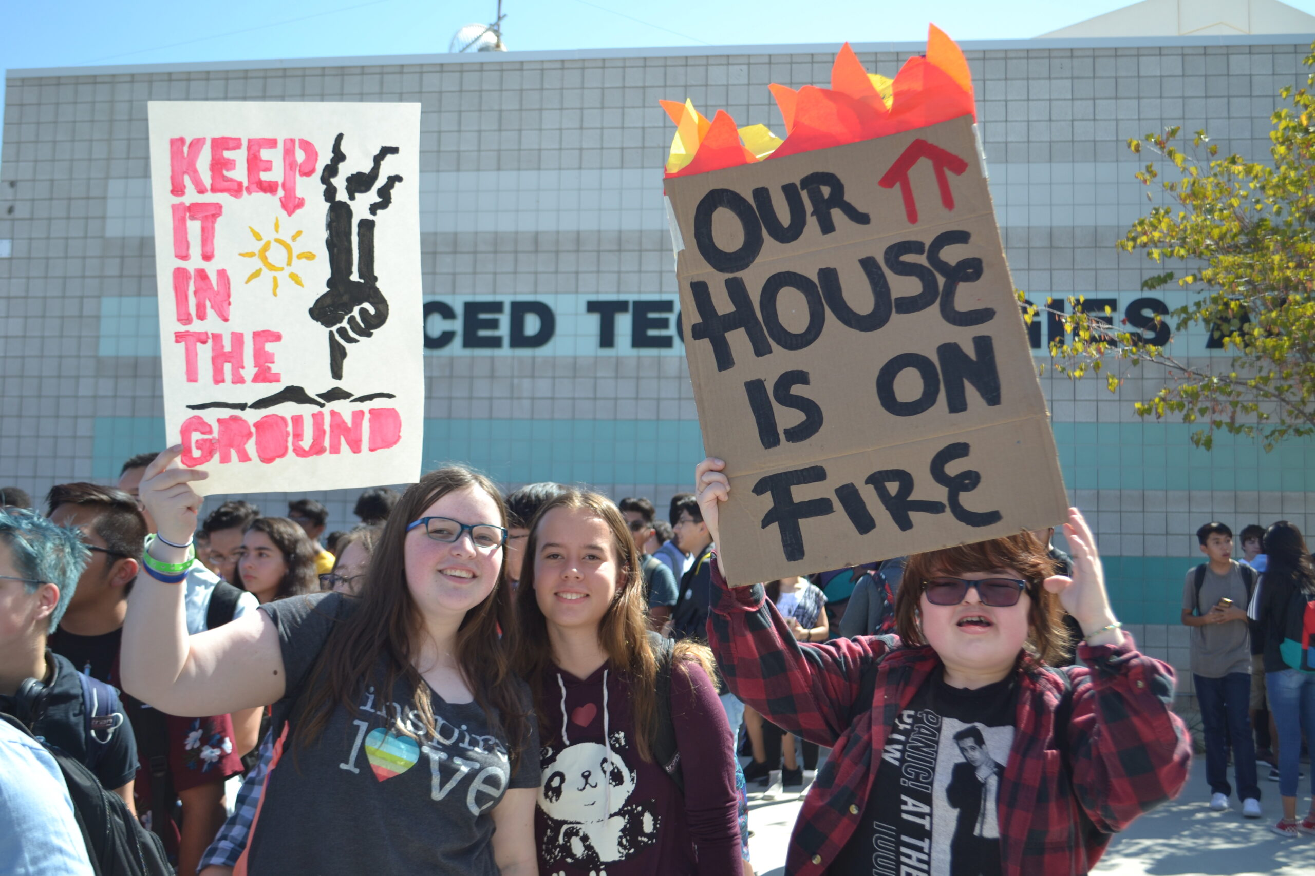 Students during a climate change strike