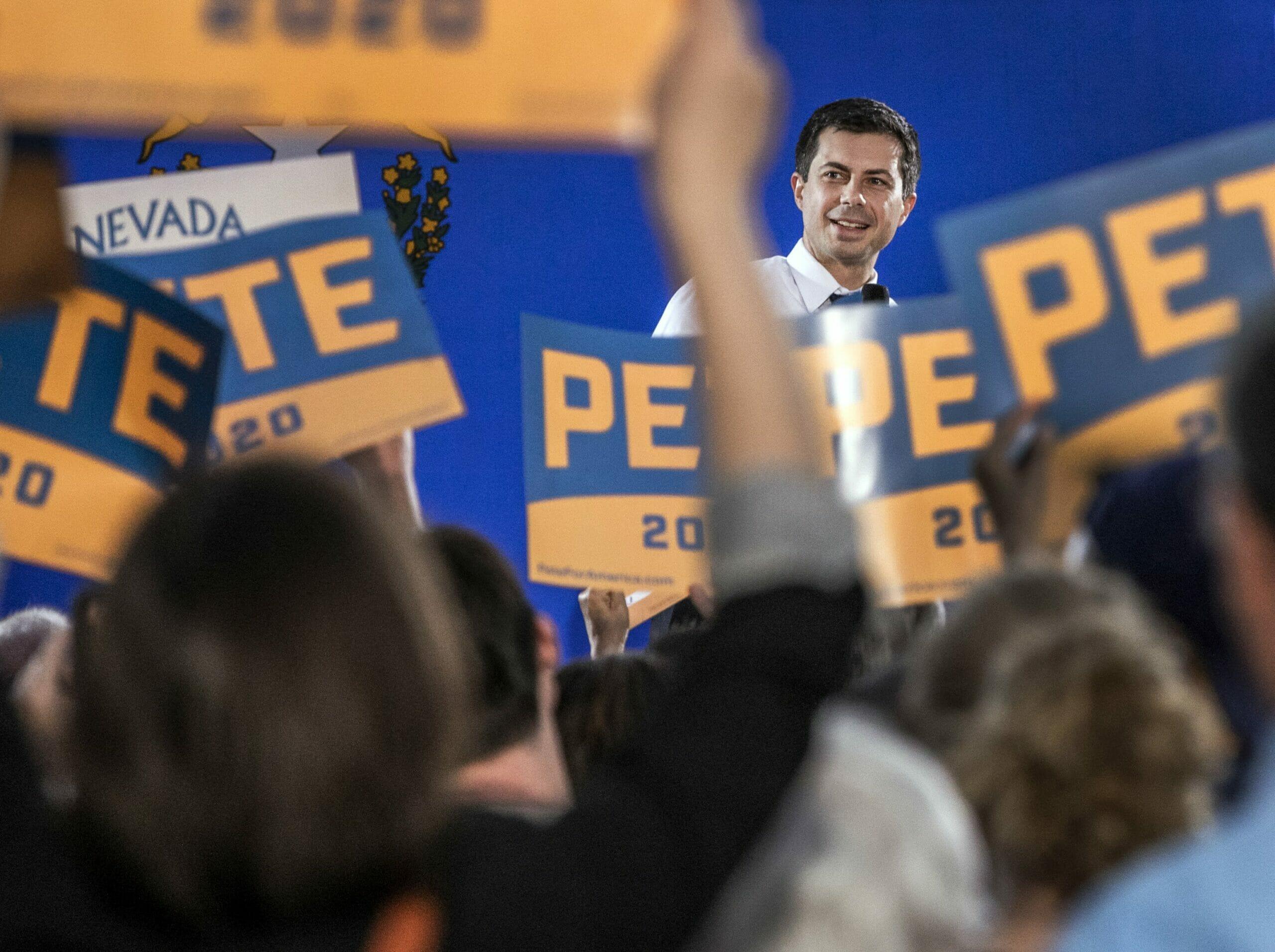 Pete Buttigieg speaks at a rally
