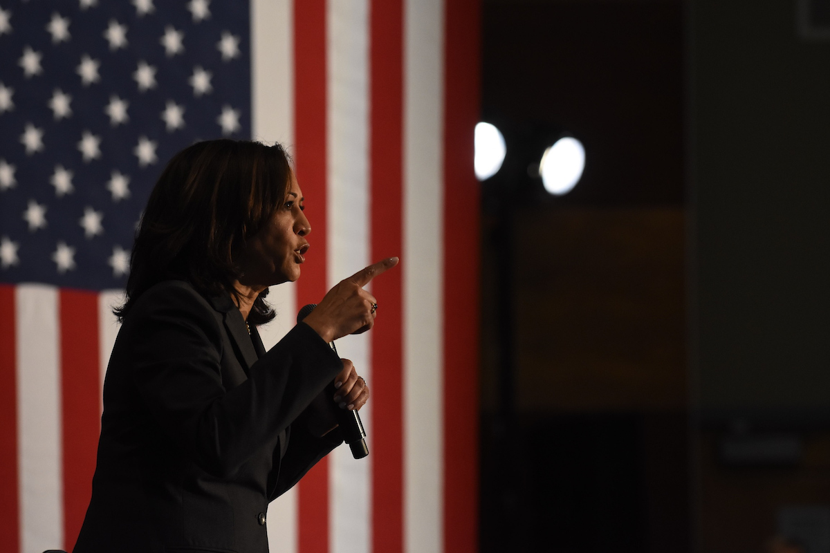 Kamala Harris speaks to a crowd at a Reno Town Hall event at UNR