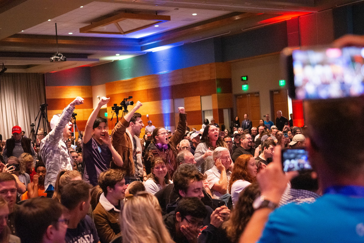 Protestors interrupt Charlie Kirk, founder of Turning Point USA, during his speech at the University of Nevada, Reno