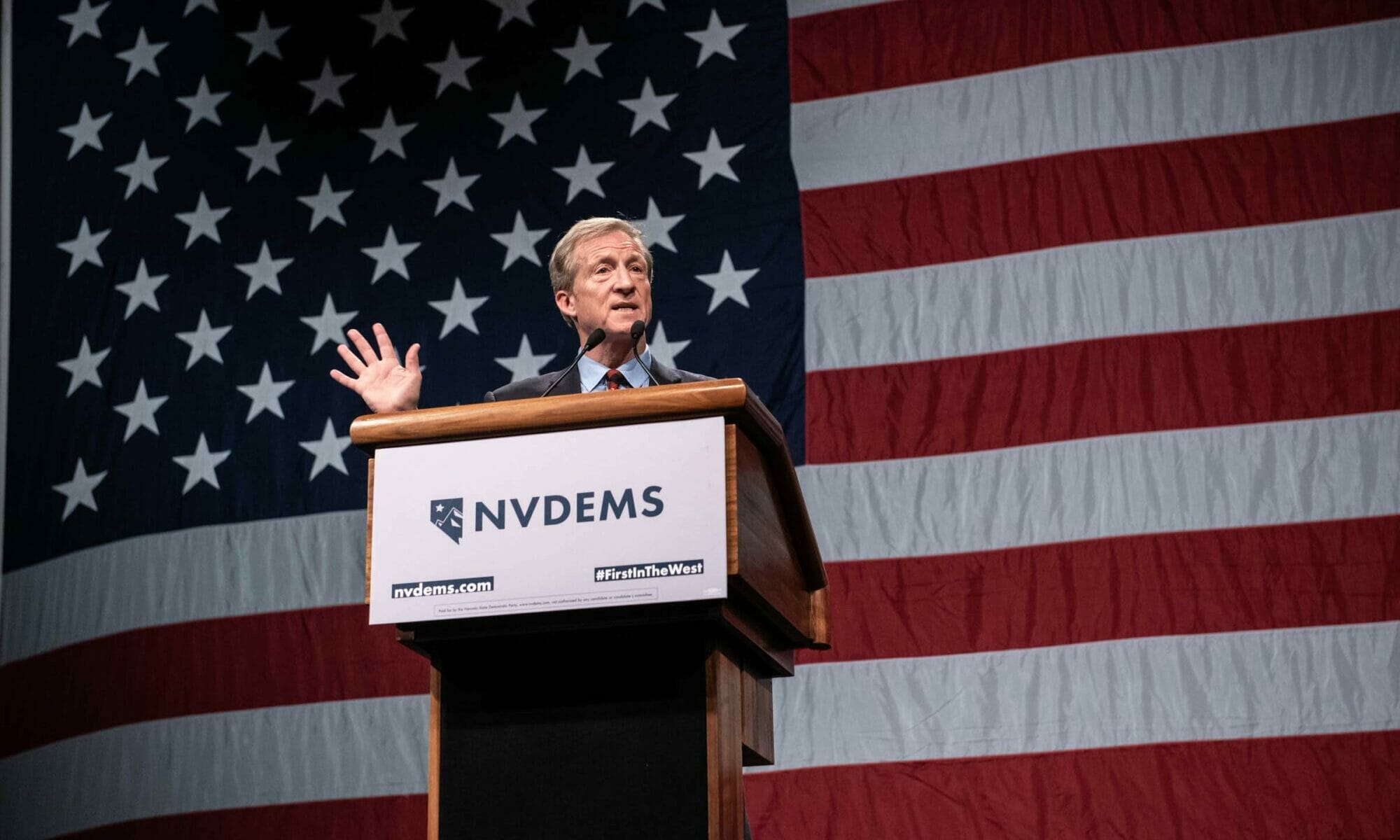 Tom Steyer speaks on stage at Nevada State Democratic Party dinner
