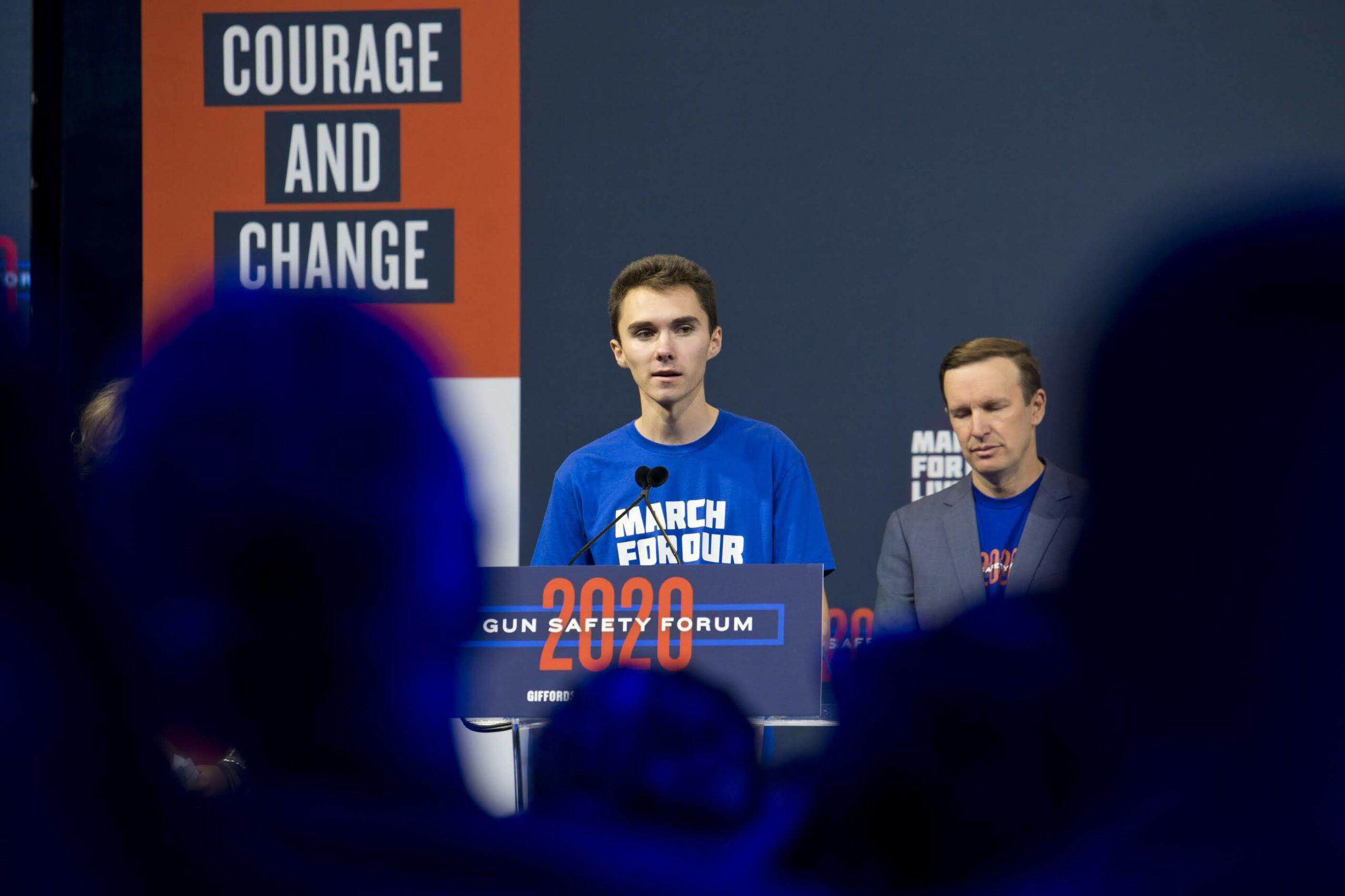 Gun safety activist David Hogg speaks during the 2020 Gun Safety Forum in Las Vegas