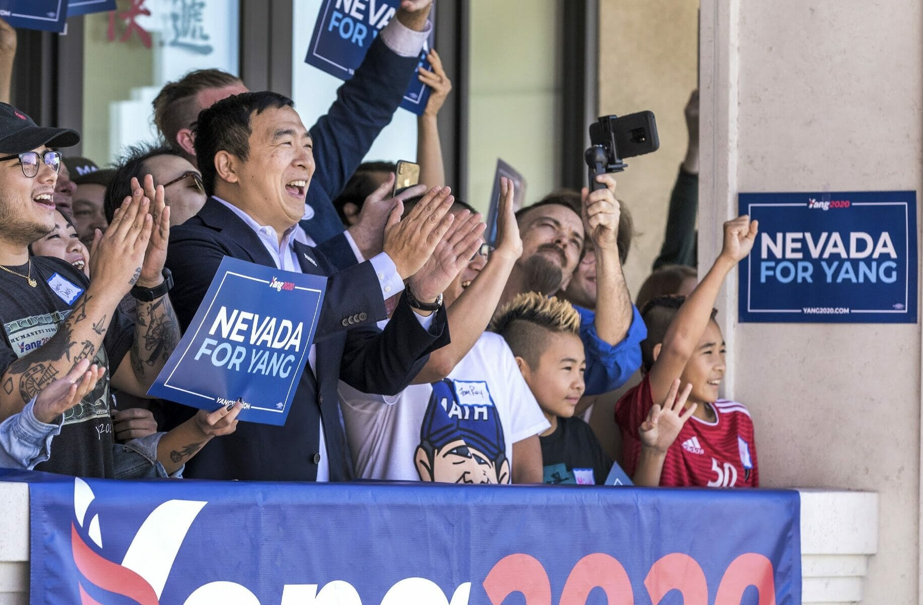 Andrew Yang and supporters