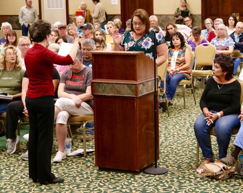 Michelle Beecher is sworn in