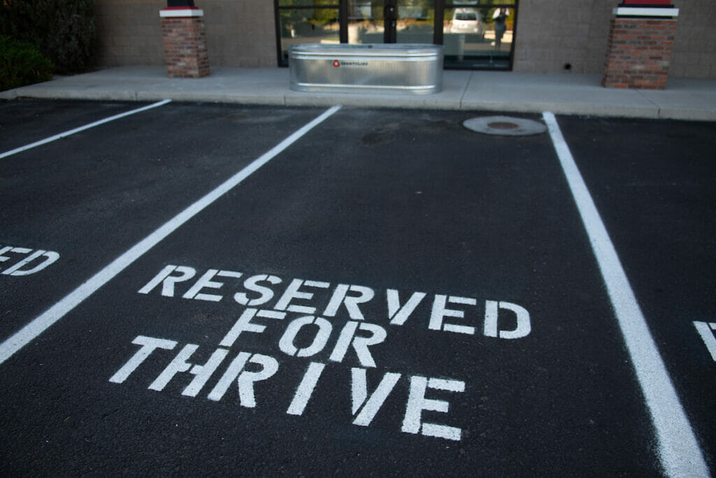 Parking space marked for Thrive Dispensary