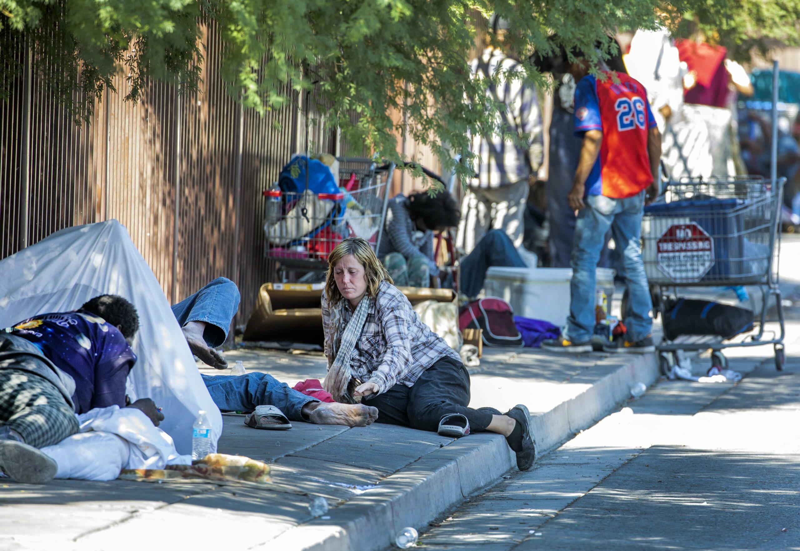 Homeless people on the sidewalk