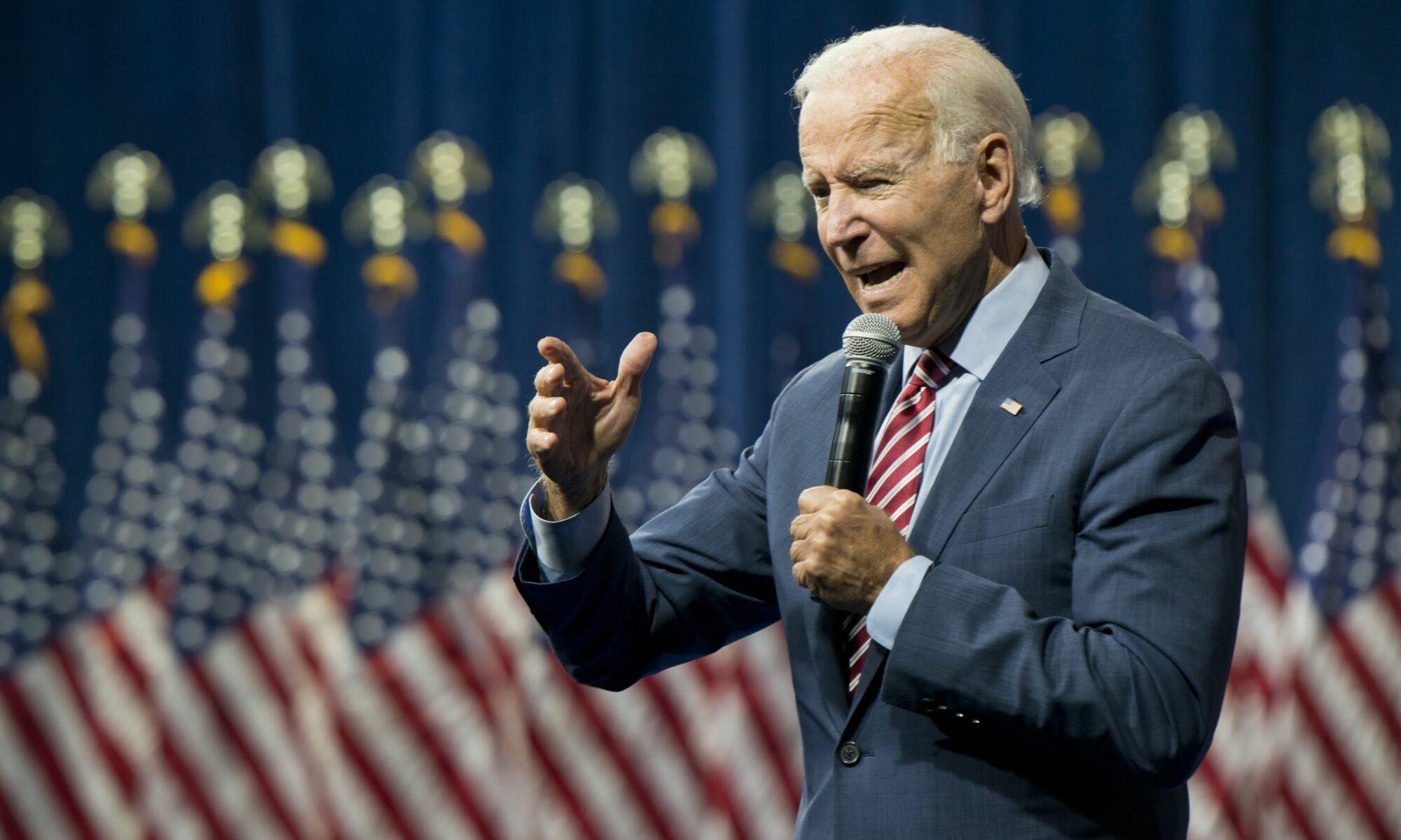 Joe Biden speaks at a rally