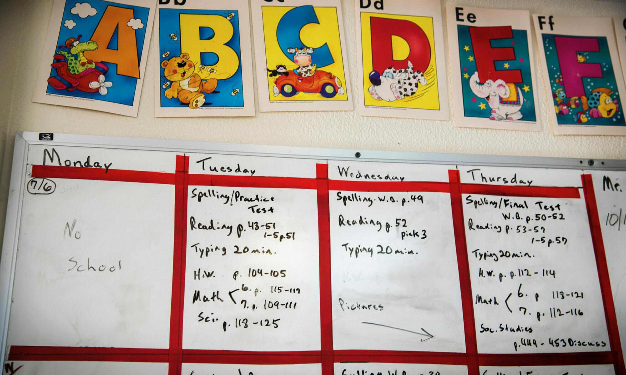 Whiteboard in a rural school