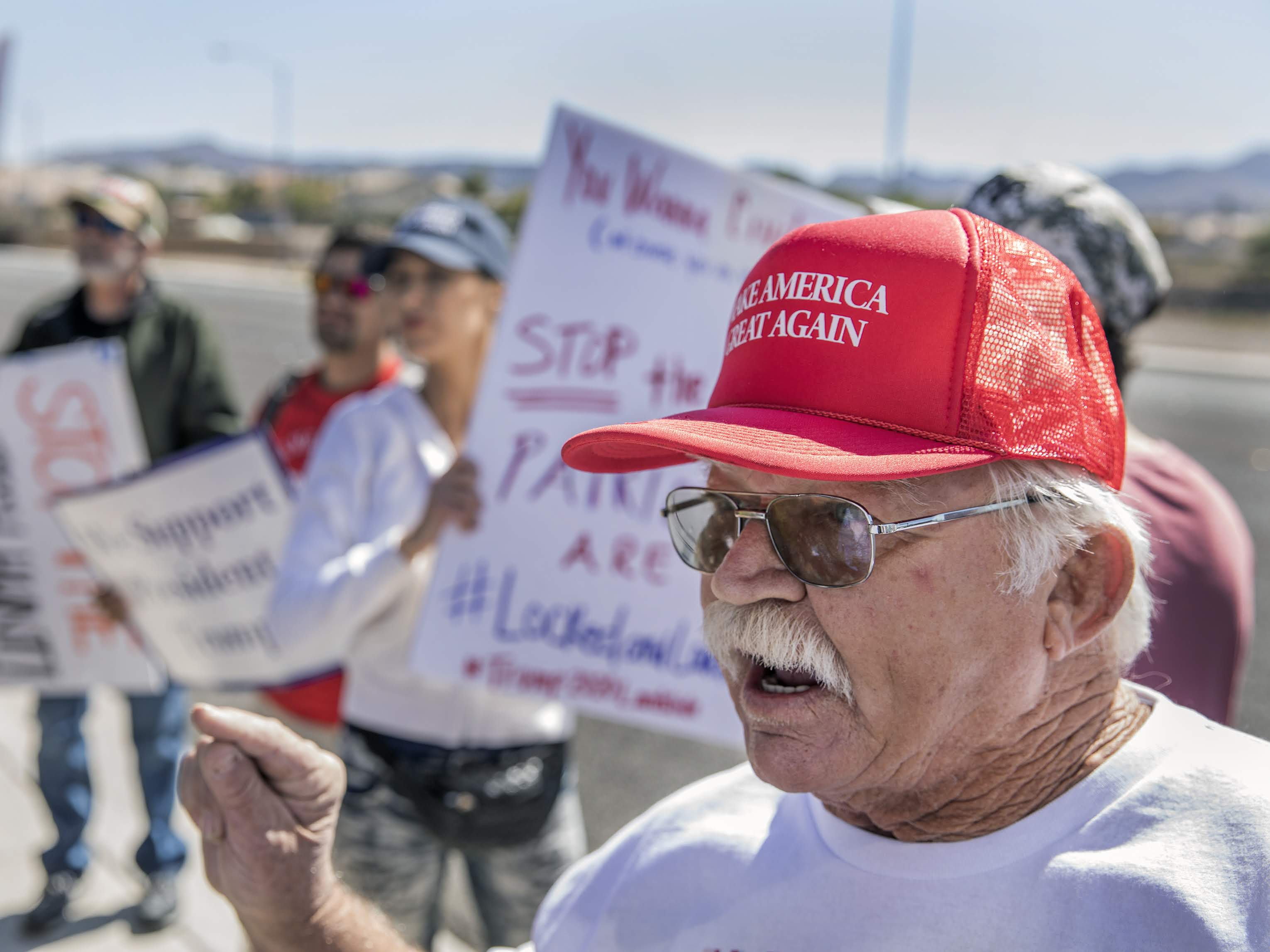 Trump supporters protest on street