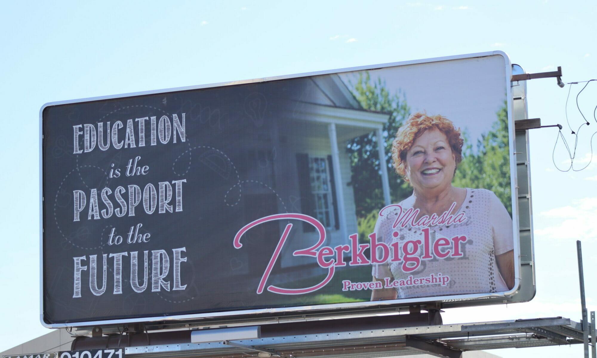Billboard for Marsha Berkbigler