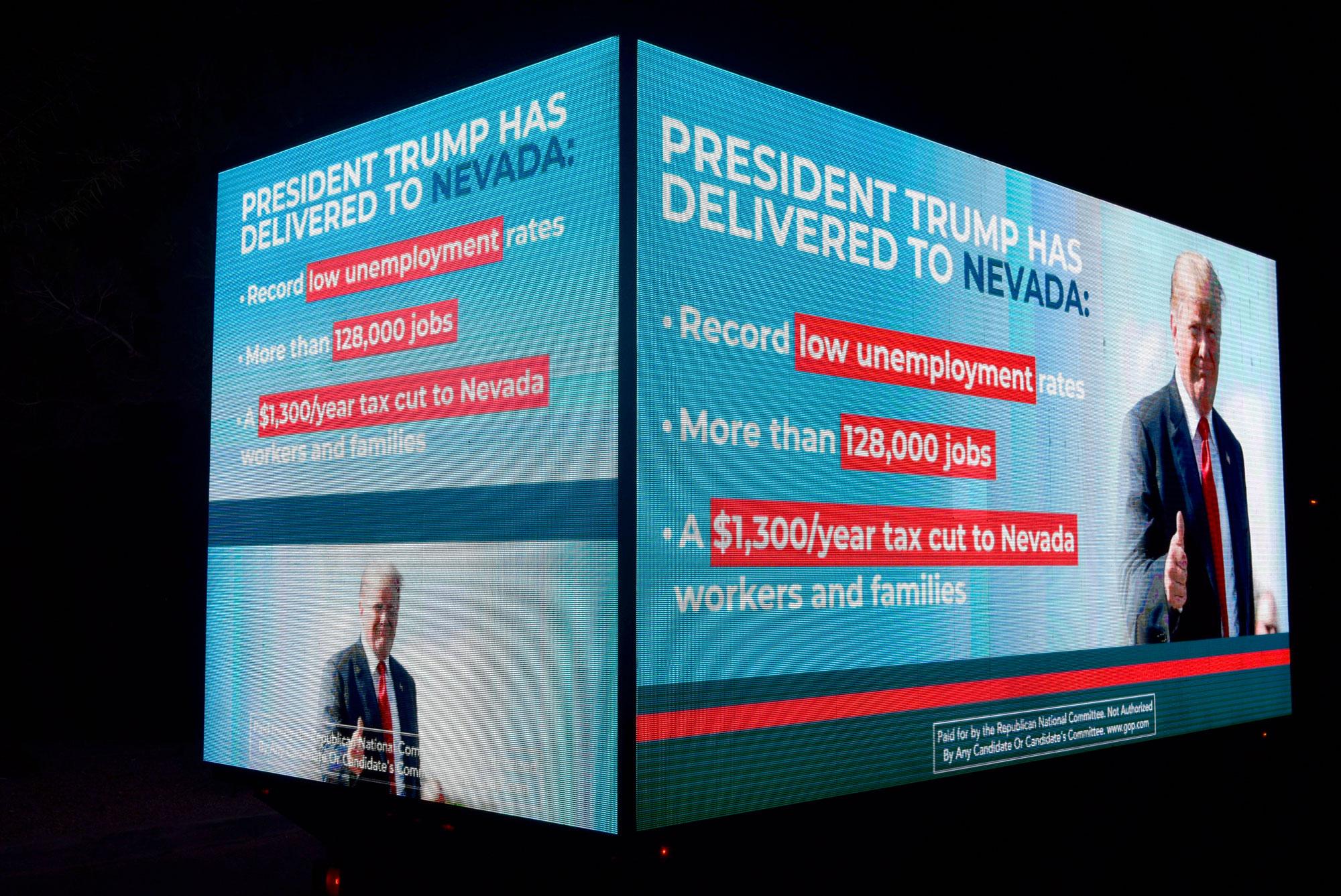 A pro-Trump digital billboard