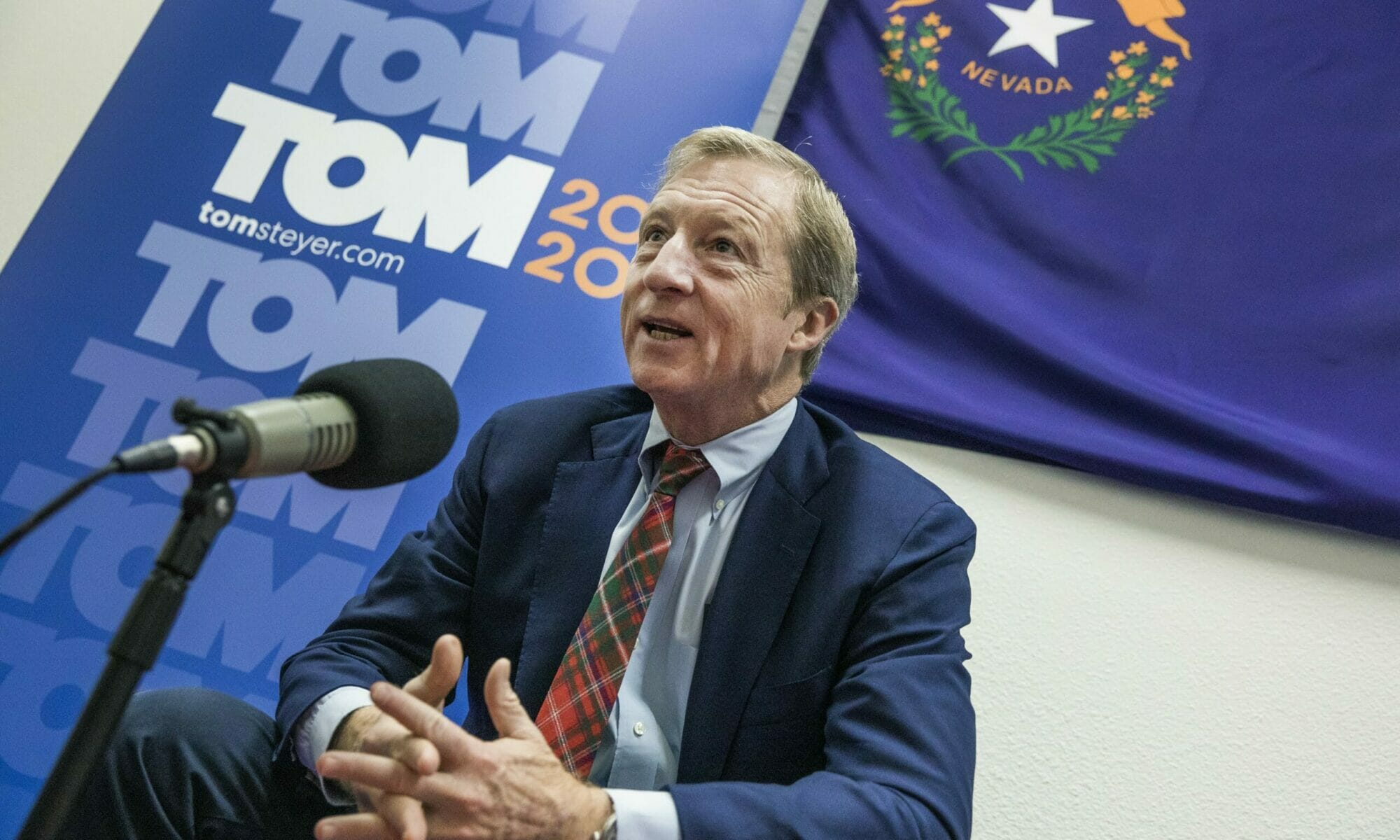 Tom Steyer is interviewed for a podcast