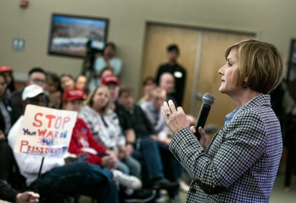 Rep. Susie Lee speaks at a town hall