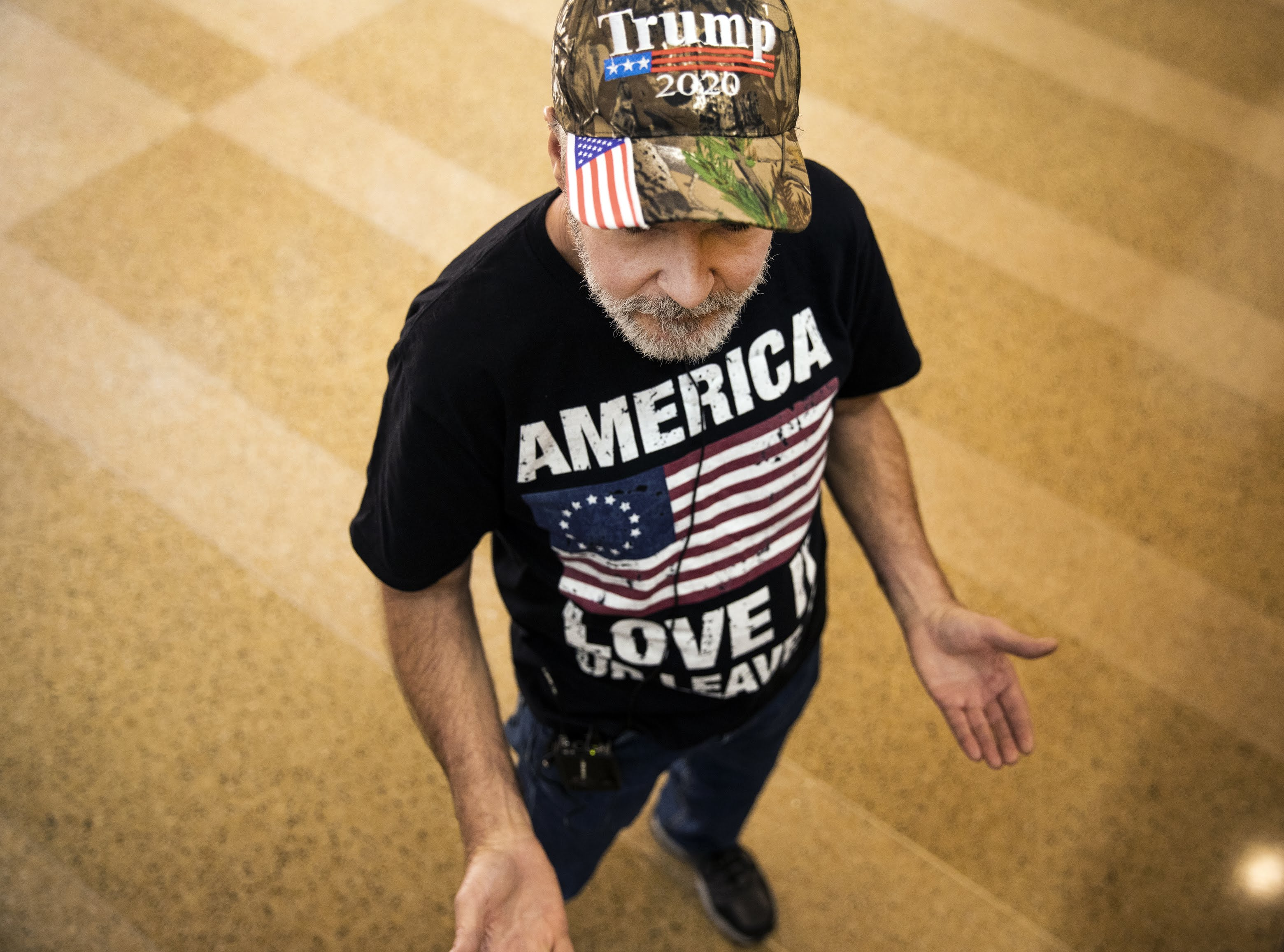 Trump volunteer talks to press