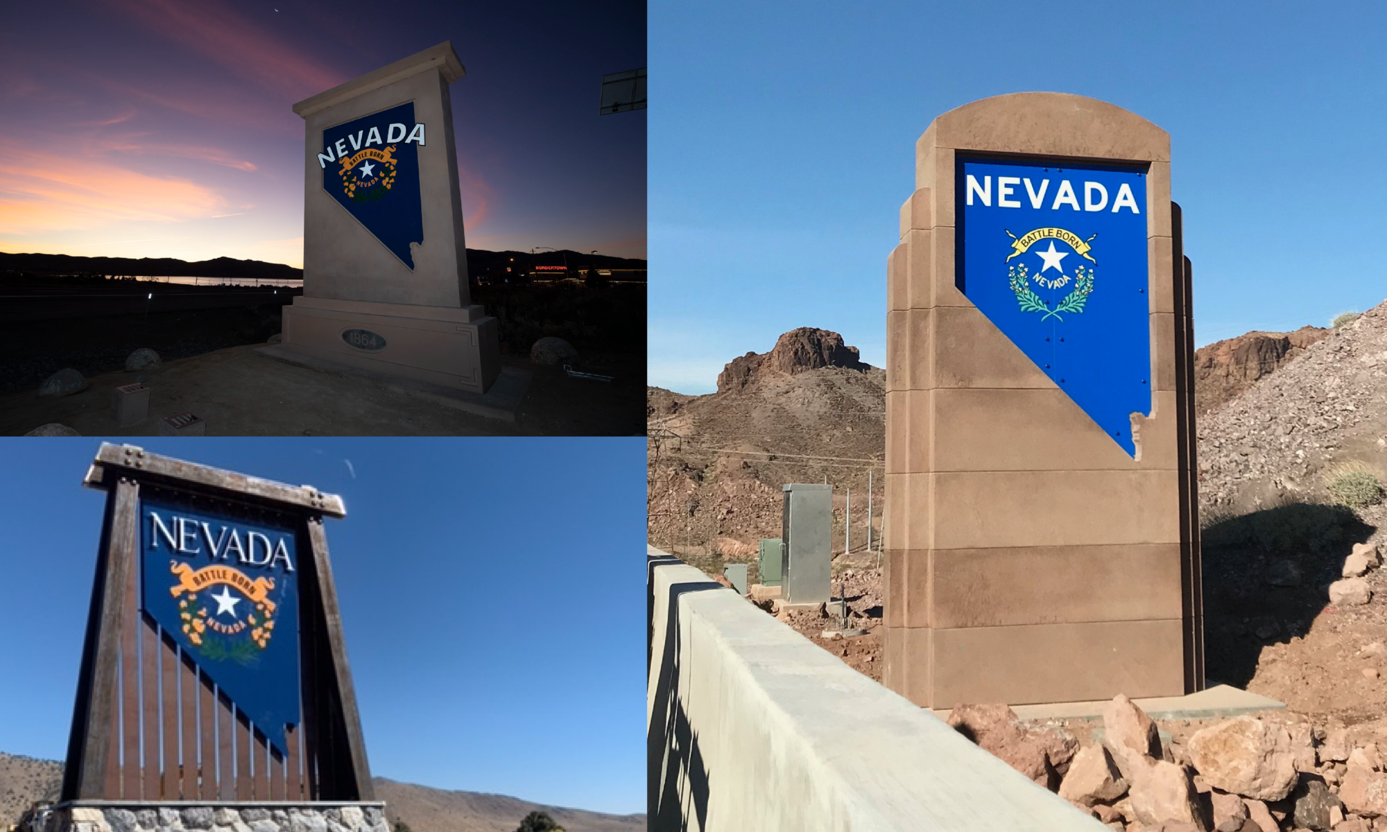 Three photos of new Welcome to Nevada signs