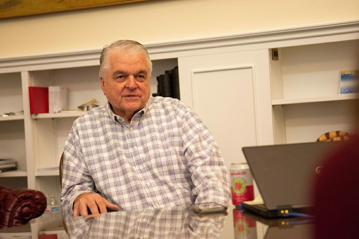 Steve Sisolak in his office