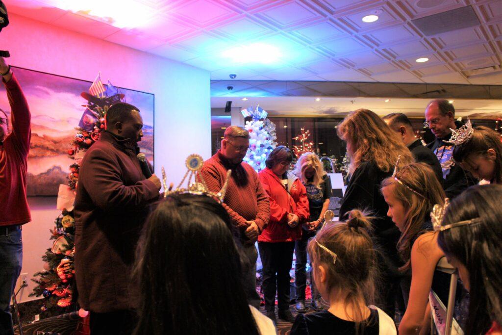Prayer at Christmas tree lighting