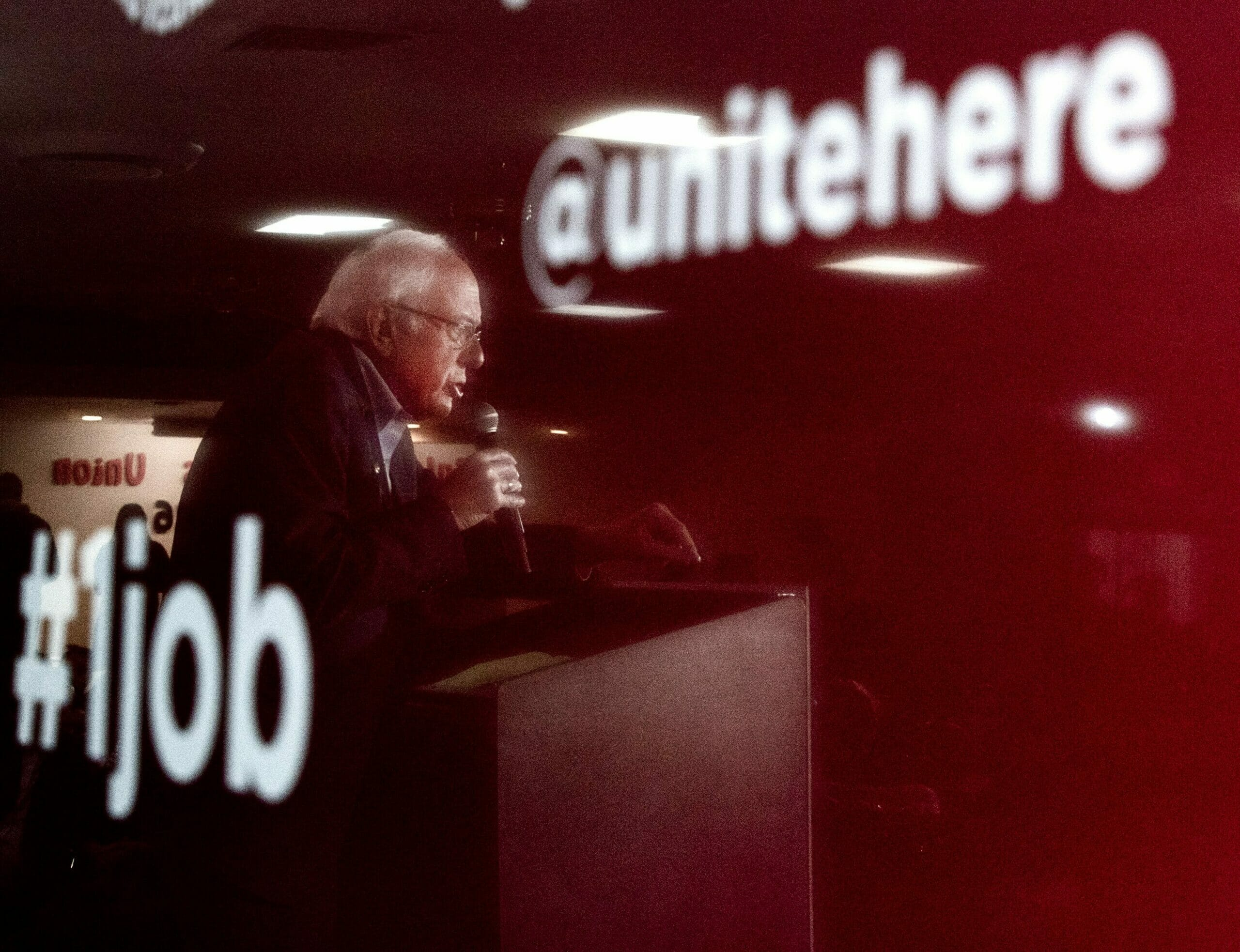 Bernie Sanders at the podium of a Culinary Union event