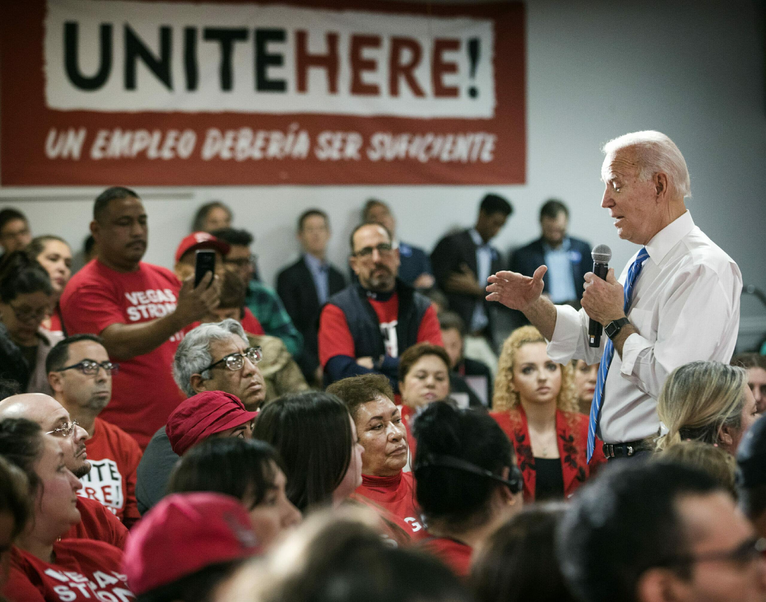 Joe Biden speaking to a crowd