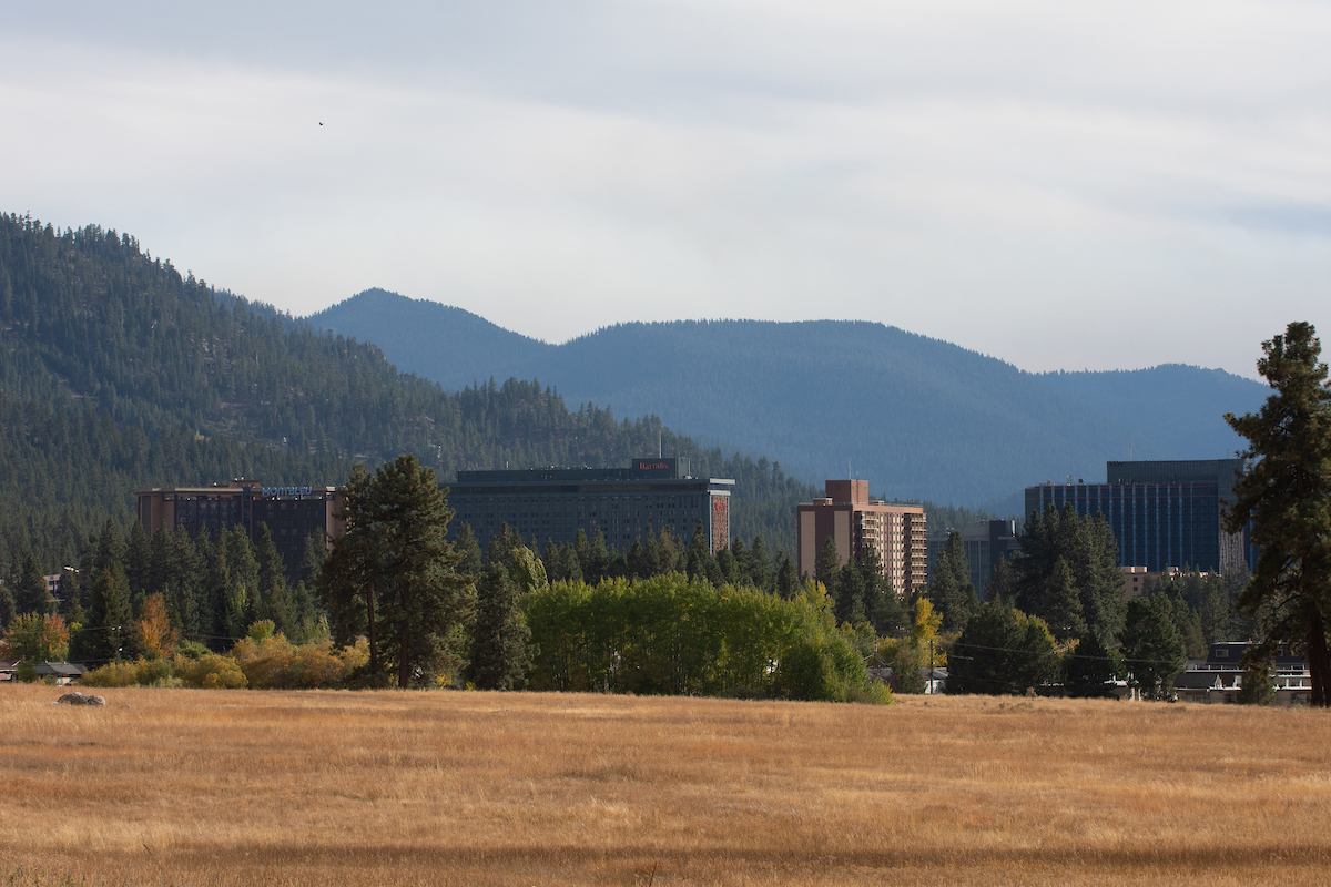 Casinos with mountains in the distance in South Lake Tahoe