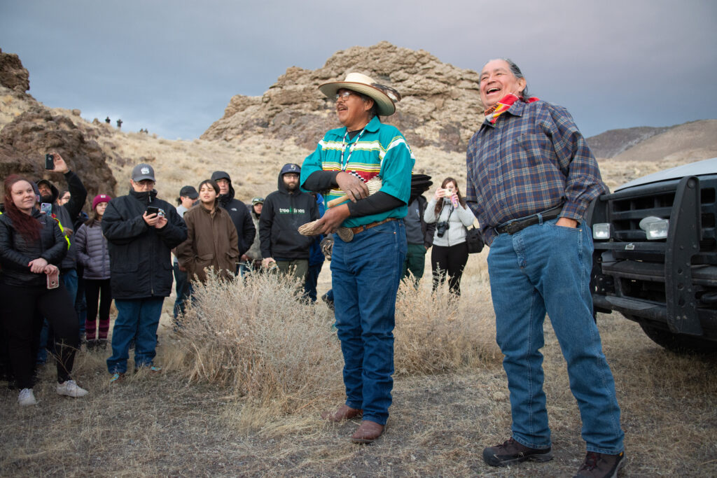 Tribal members speak before bighorn sheep release.