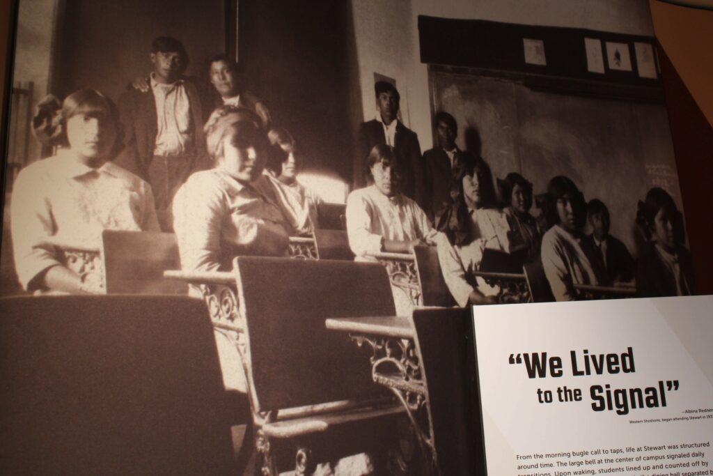 Stewart Indian School students at desks
