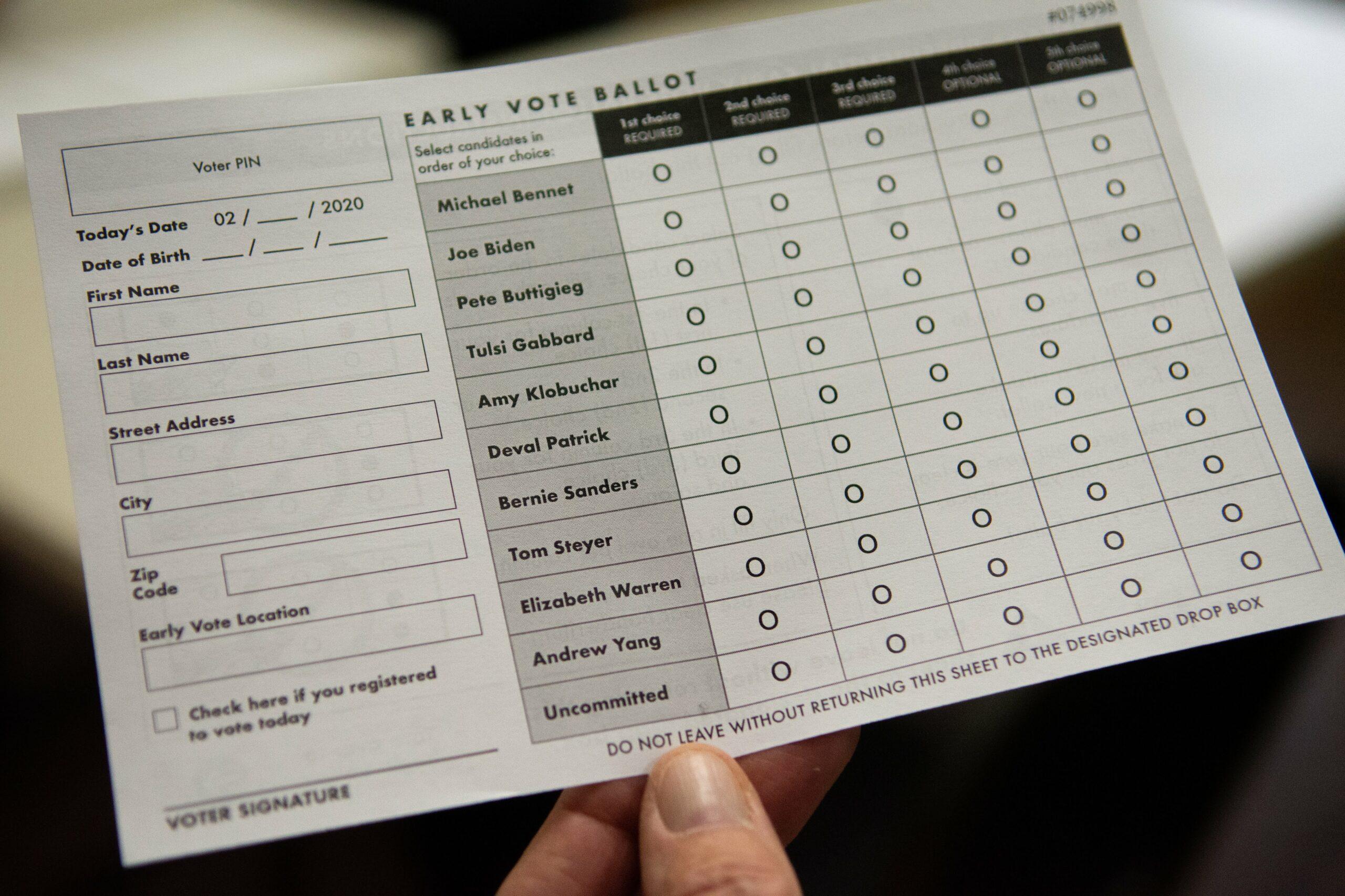 The Nevada Democratic early vote ballot